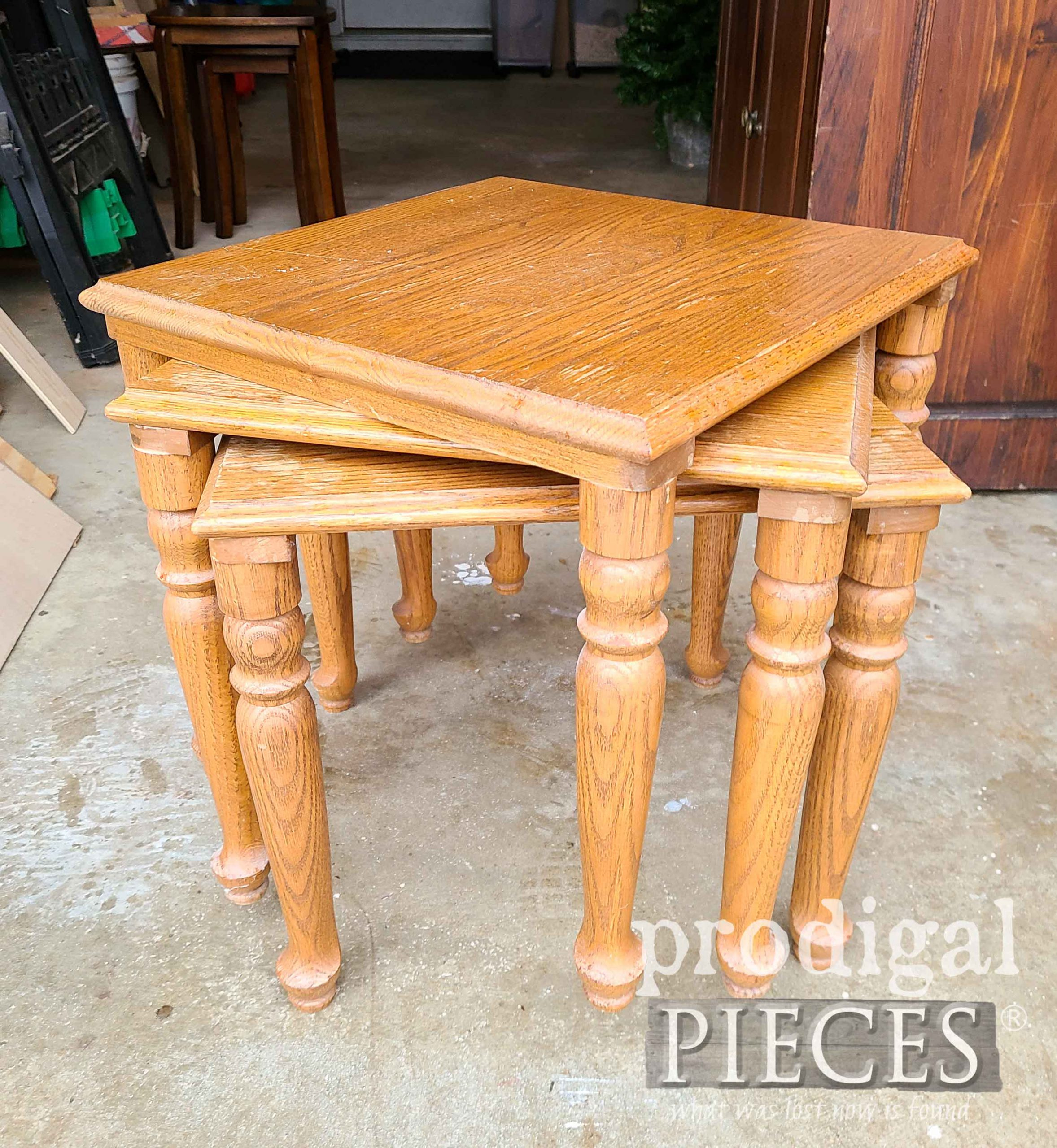 Vintage Stacking Tables Before Makeover by Prodigal Pieces | prodigalpieces.com