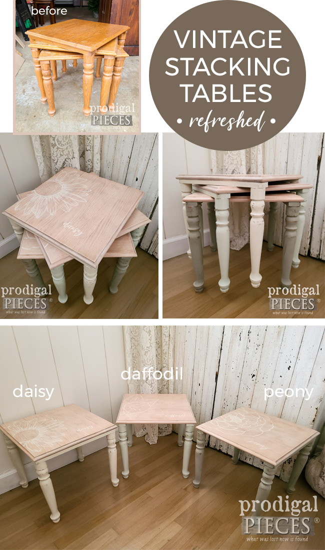 Sweet transformation of these vintage stacking tables. Hand-painted floral design with ombre style by Larissa of Prodigal Pieces | prodigalpieces.com #prodigalpieces #furniture #diy #art #home #homedecor