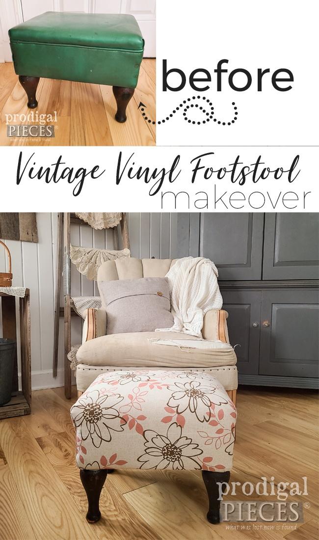 Vintage Vinyl Footstool Makeover by Larissa of Prodigal Pieces | prodigalpieces.com #prodigalpieces #vintage #furniture #home #homedecor