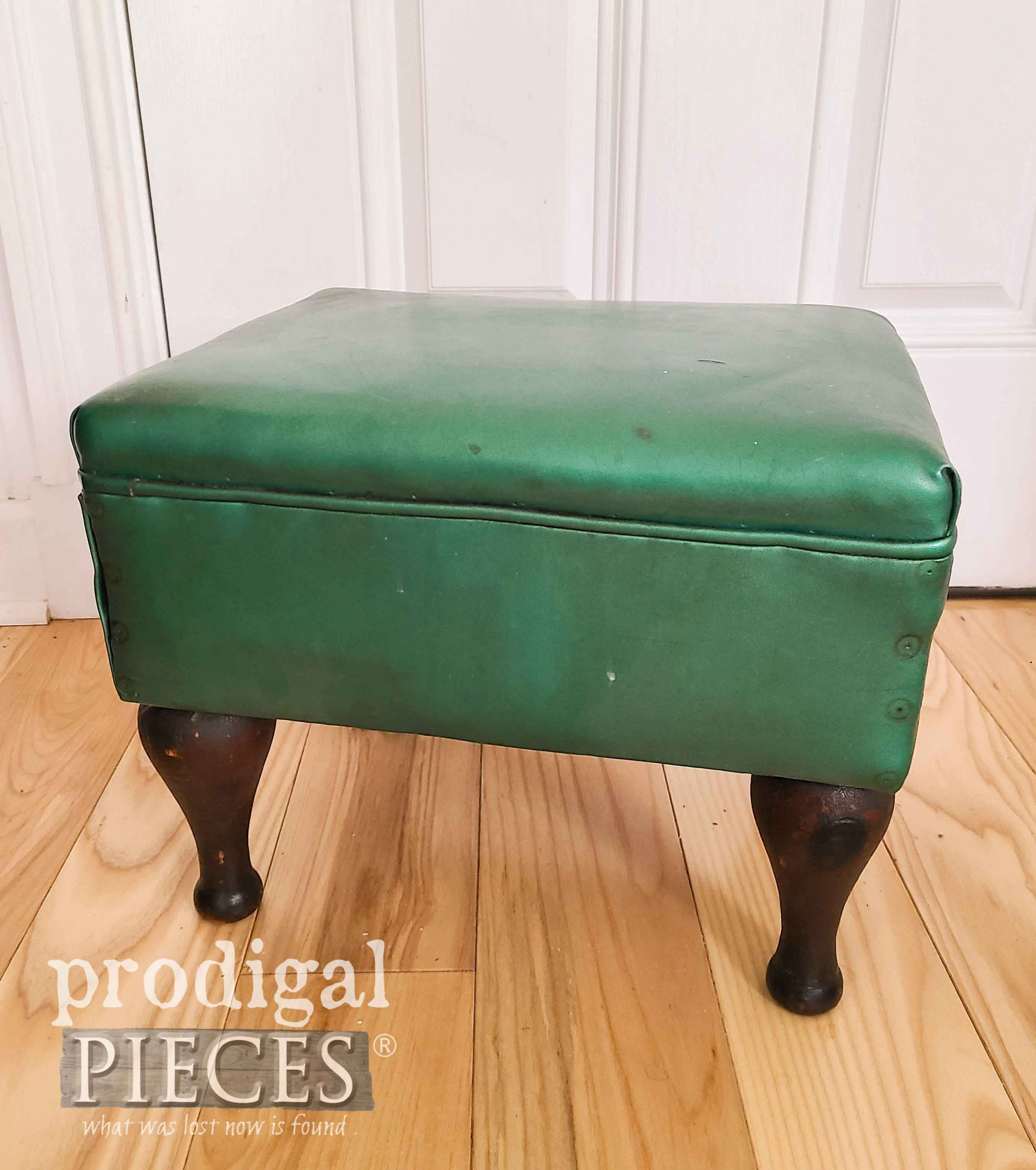Vintage Vinyl Footstool Before Makeover by Larissa of Prodigal Pieces | prodigalpieces.com #prodigalpieces
