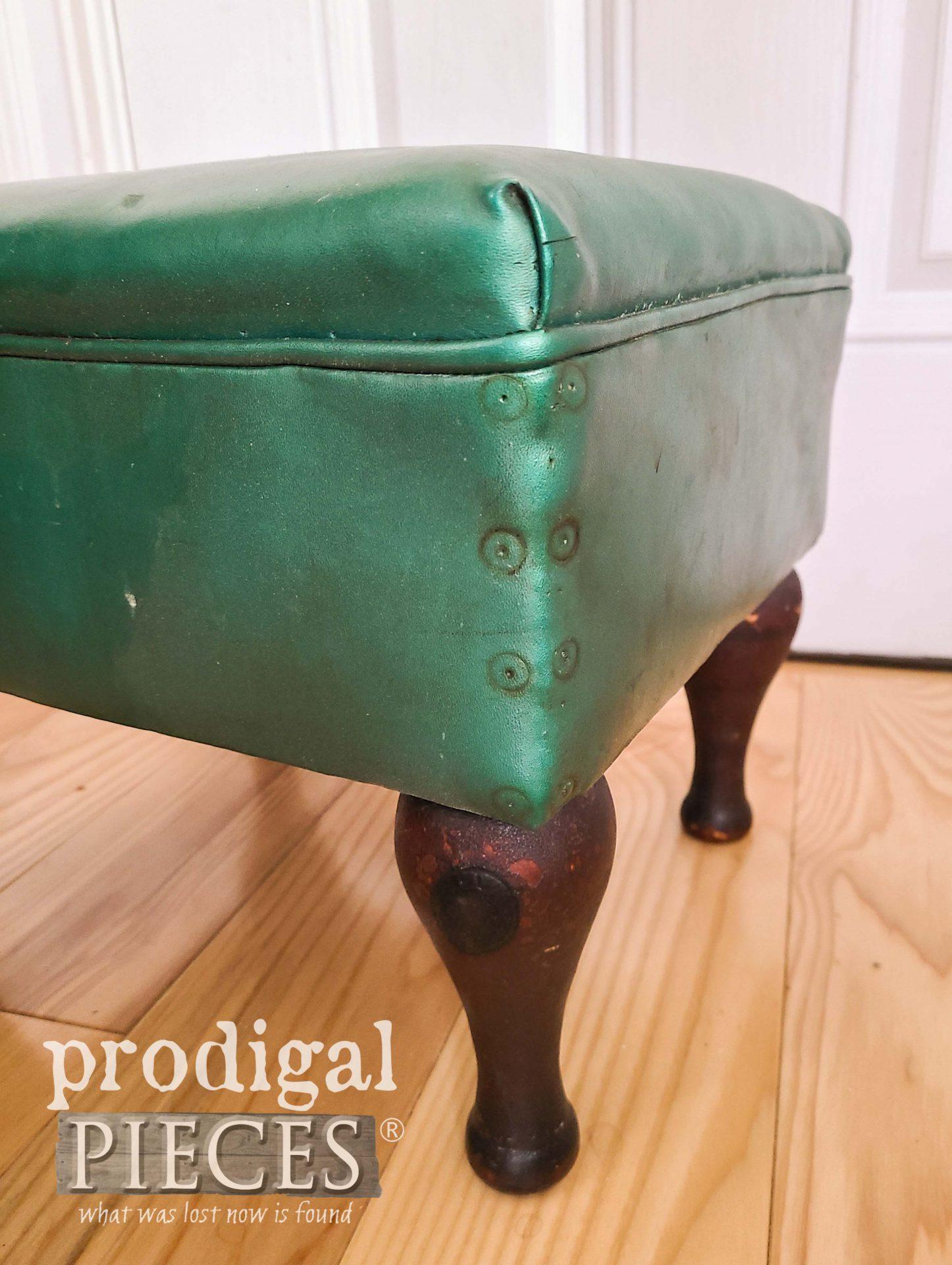 Vintage Vinyl Footstool Closeup | prodigalpieces.com