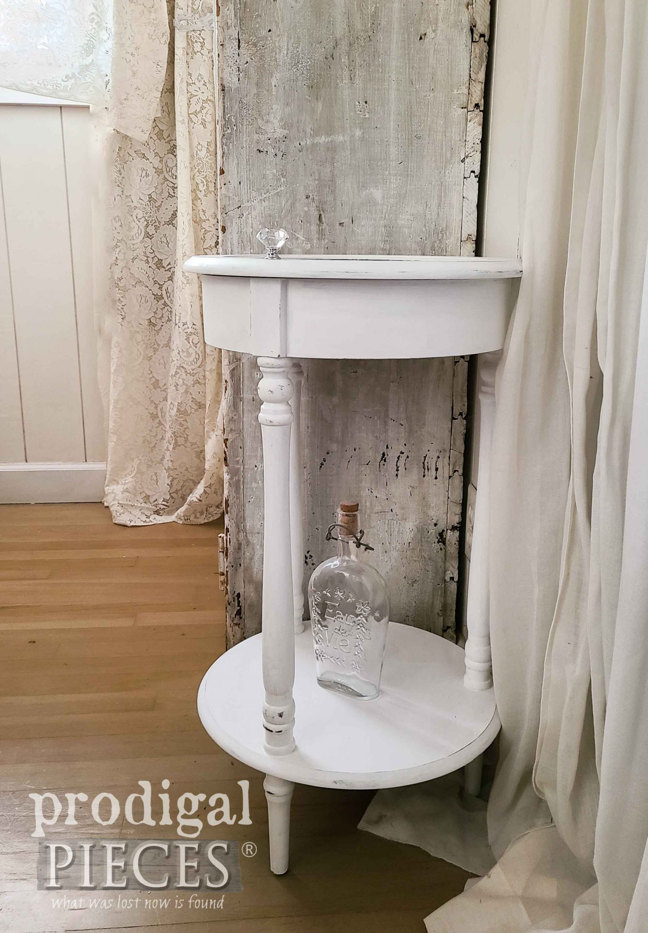 White Tiered Table with Glass Cabinet Top by Prodigal Pieces | prodigalpieces.com #prodigalpieces #furniture #home #homedecor