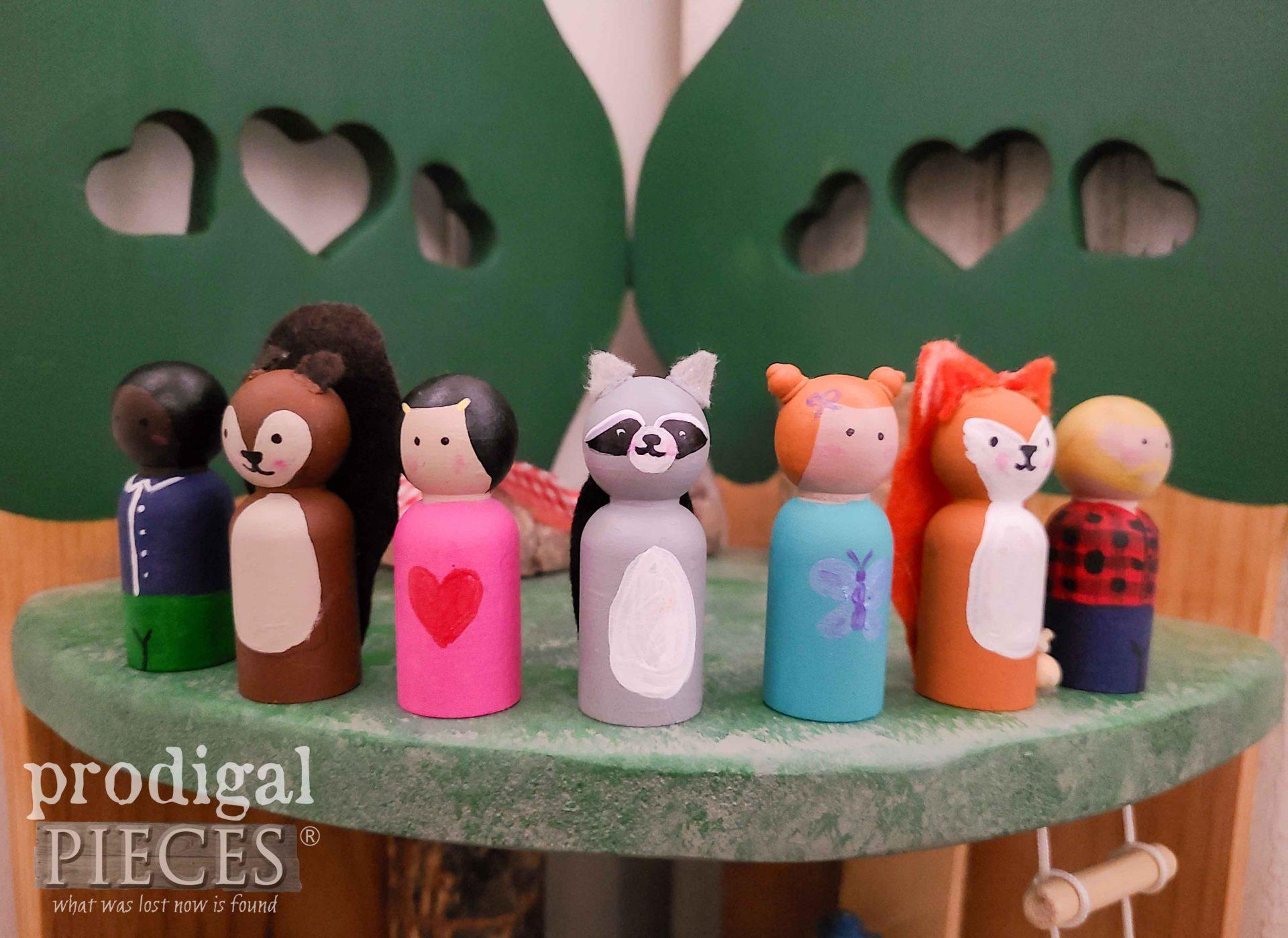 Woodland Peg People Created by Larissa of Prodigal Pieces | prodigalpieces.com #prodigalpieces #handmade #toys #kids #fun