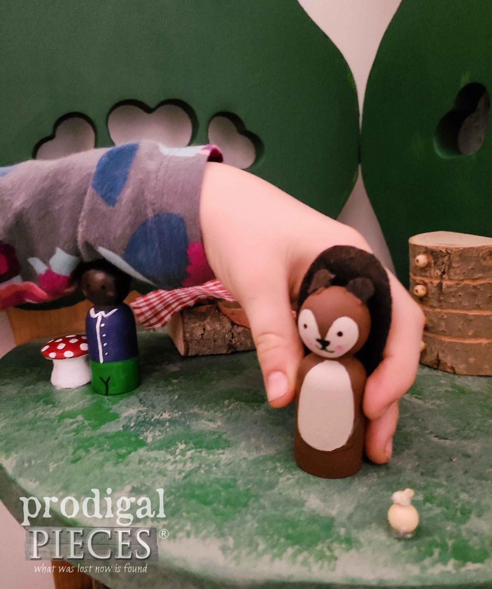 Woodland Squirrel Peg Doll Handmade by Larissa of Prodigal Pieces | prodigalpieces.com #prodigalpieces #handmade #kids #upcycled