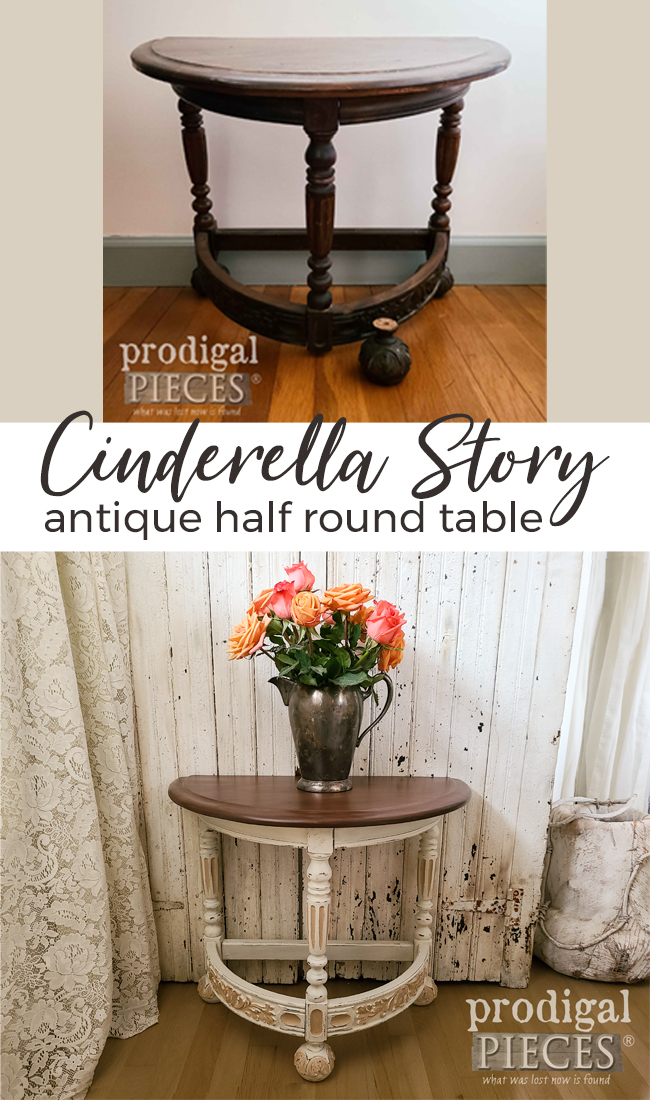 Worn and damaged, this antique half round table got a Cinderella makeover by Larissa of Prodigal Pieces | Details at prodigalpieces.com #prodigalpieces #furniture #home #homedecor