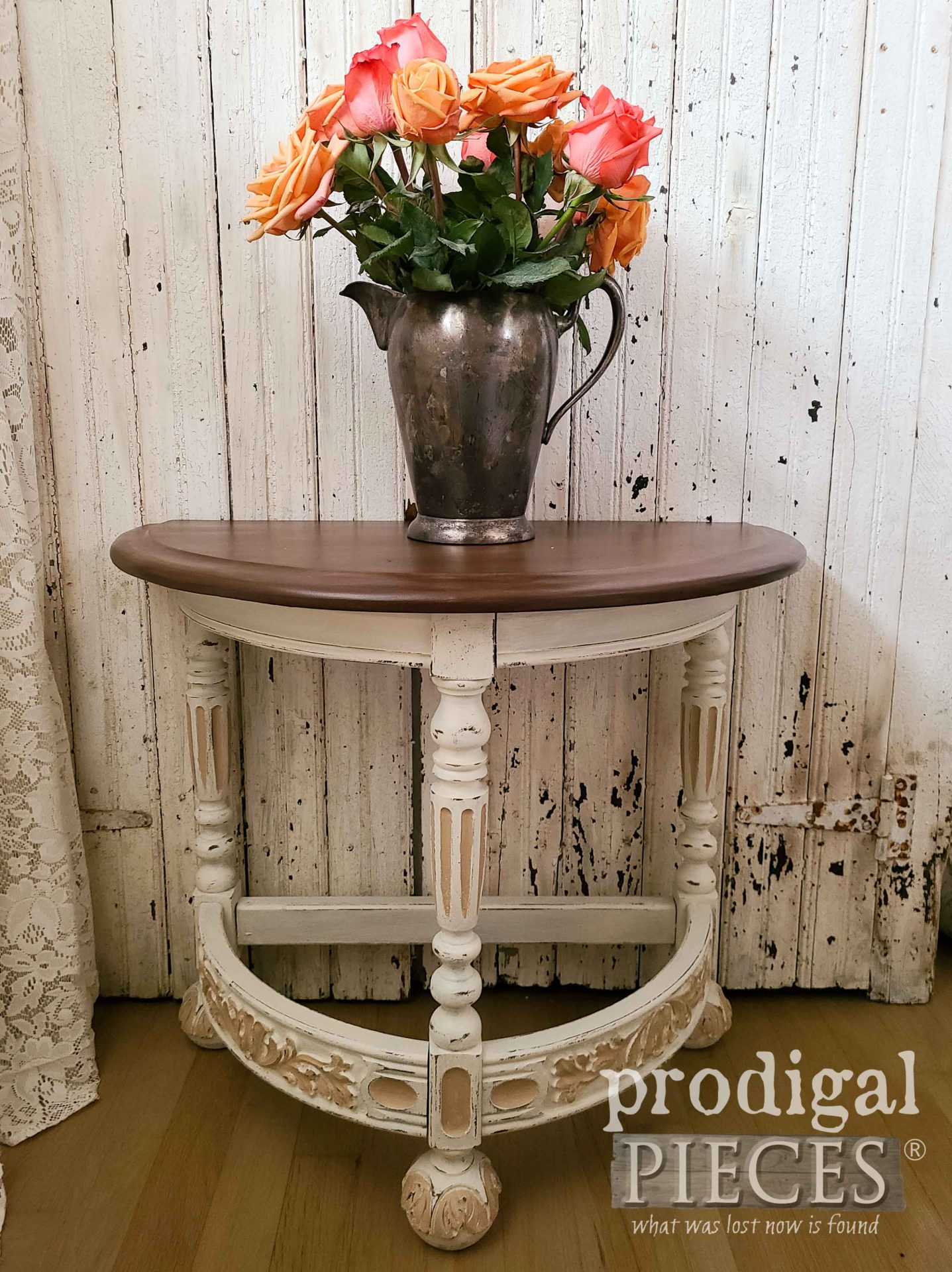 Antique Half Round Table Refinished and Painted by Larissa of Prodigal Pieces | prodigalpieces.com #prodigalpieces #furniture #antique #home #homedecor