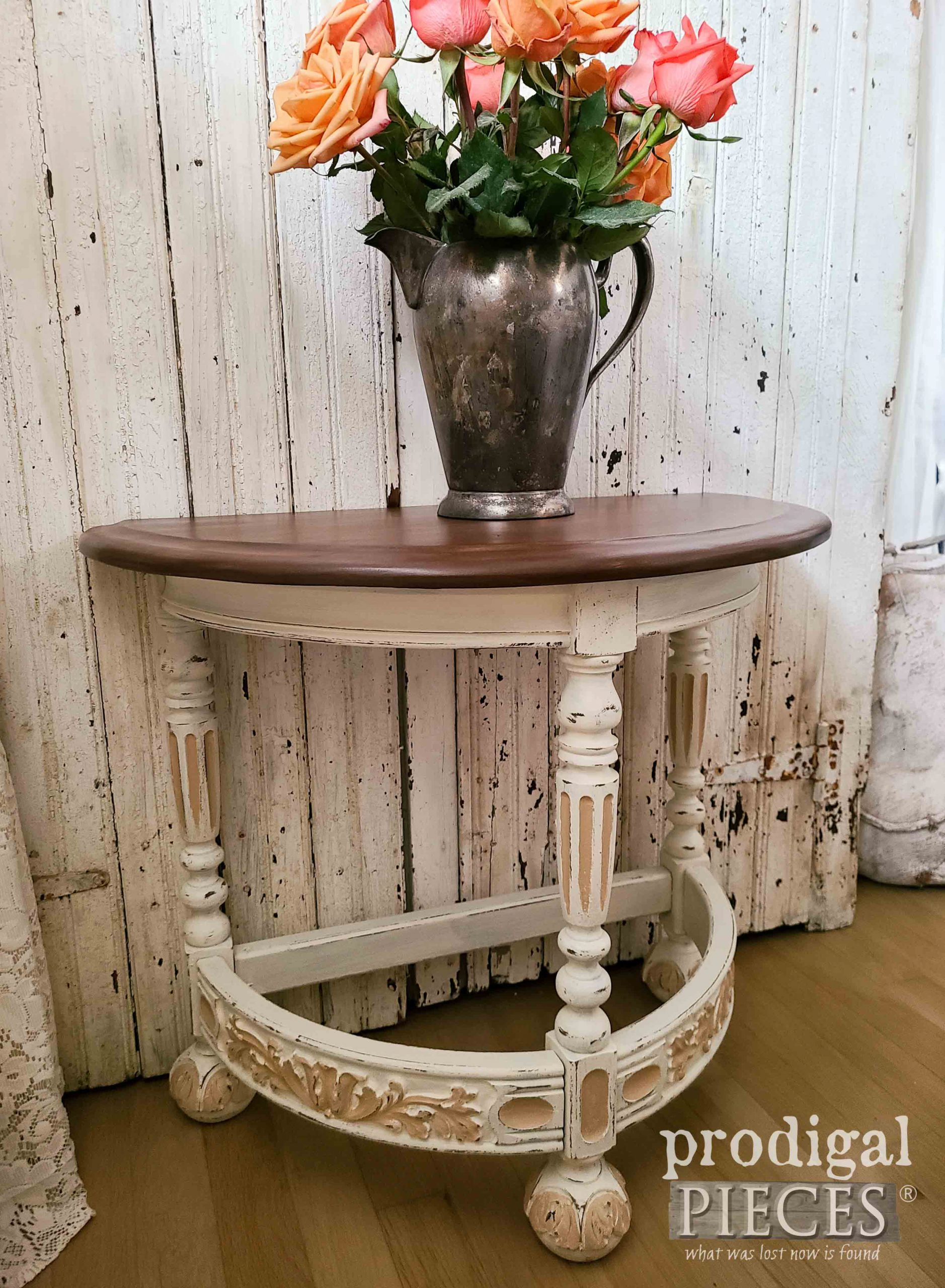Antique Side Table with Half Round Top by Larissa of Prodigal Pieces | prodigalpieces.com #prodigalpieces #antique