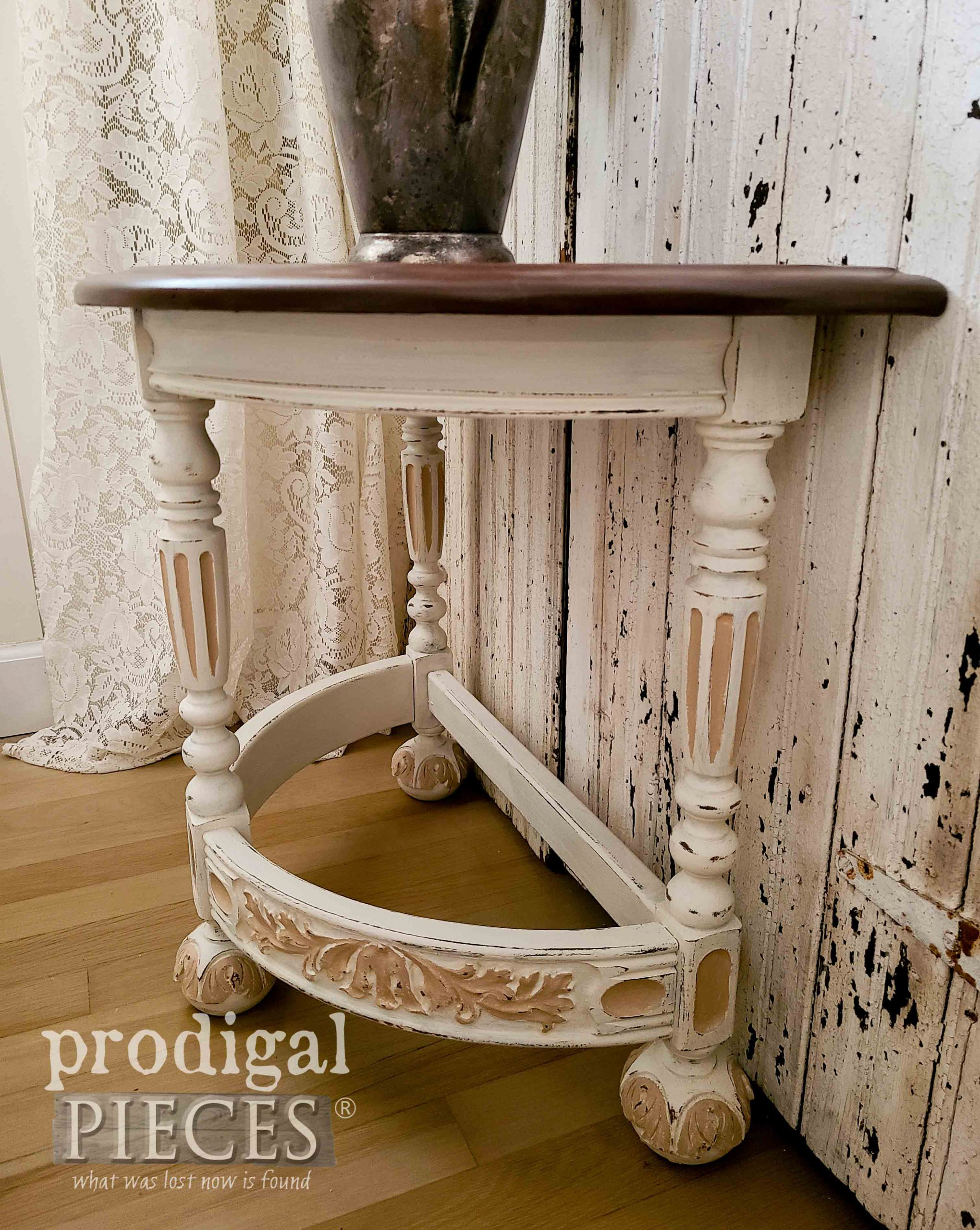 Carved Antique Half Round Table Refinished by Larissa of Prodigal Pieces | prodigalpieces.com #prodigalpieces #home