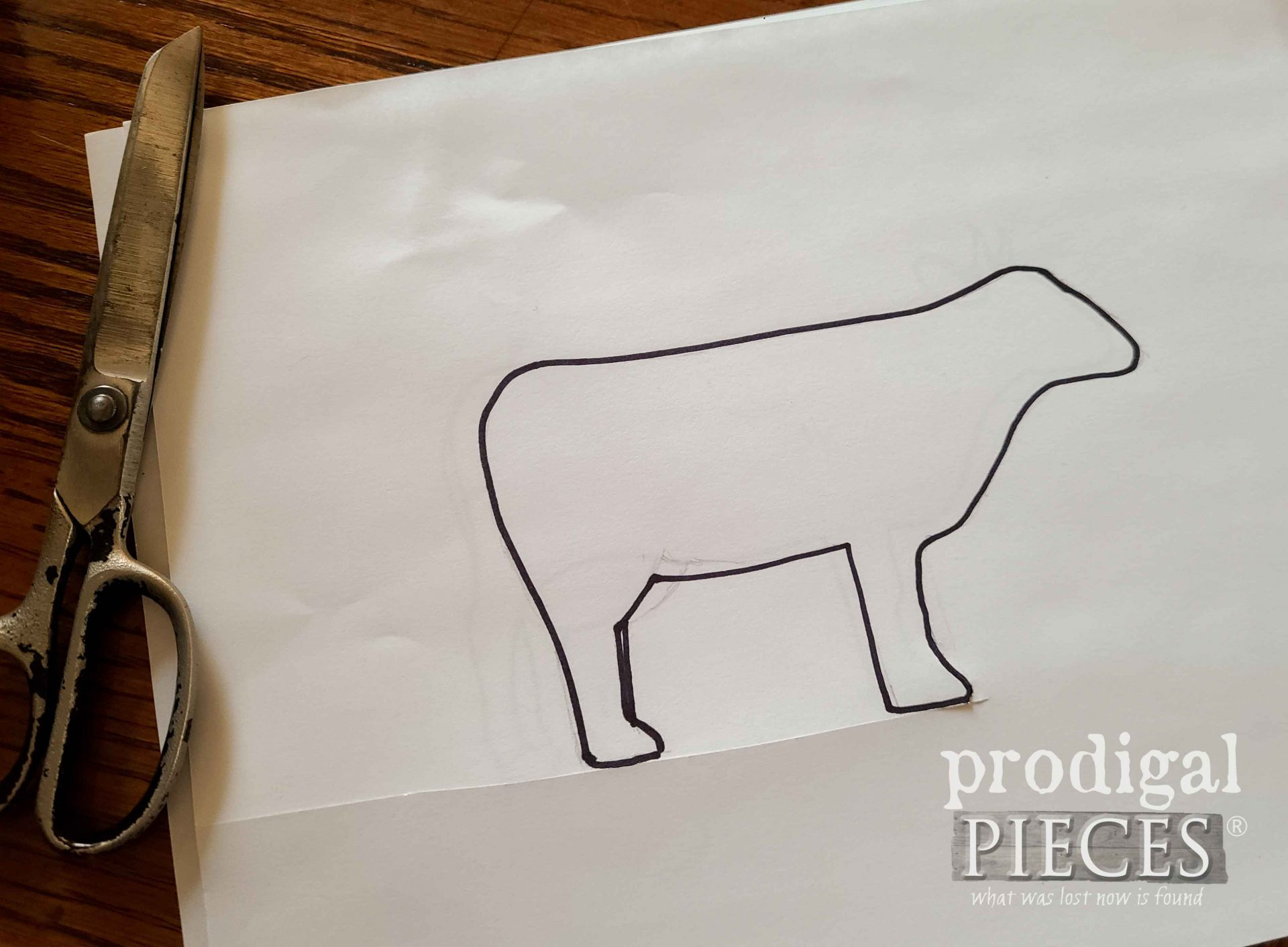 Cow Drawing for Template | prodigalpieces.com
