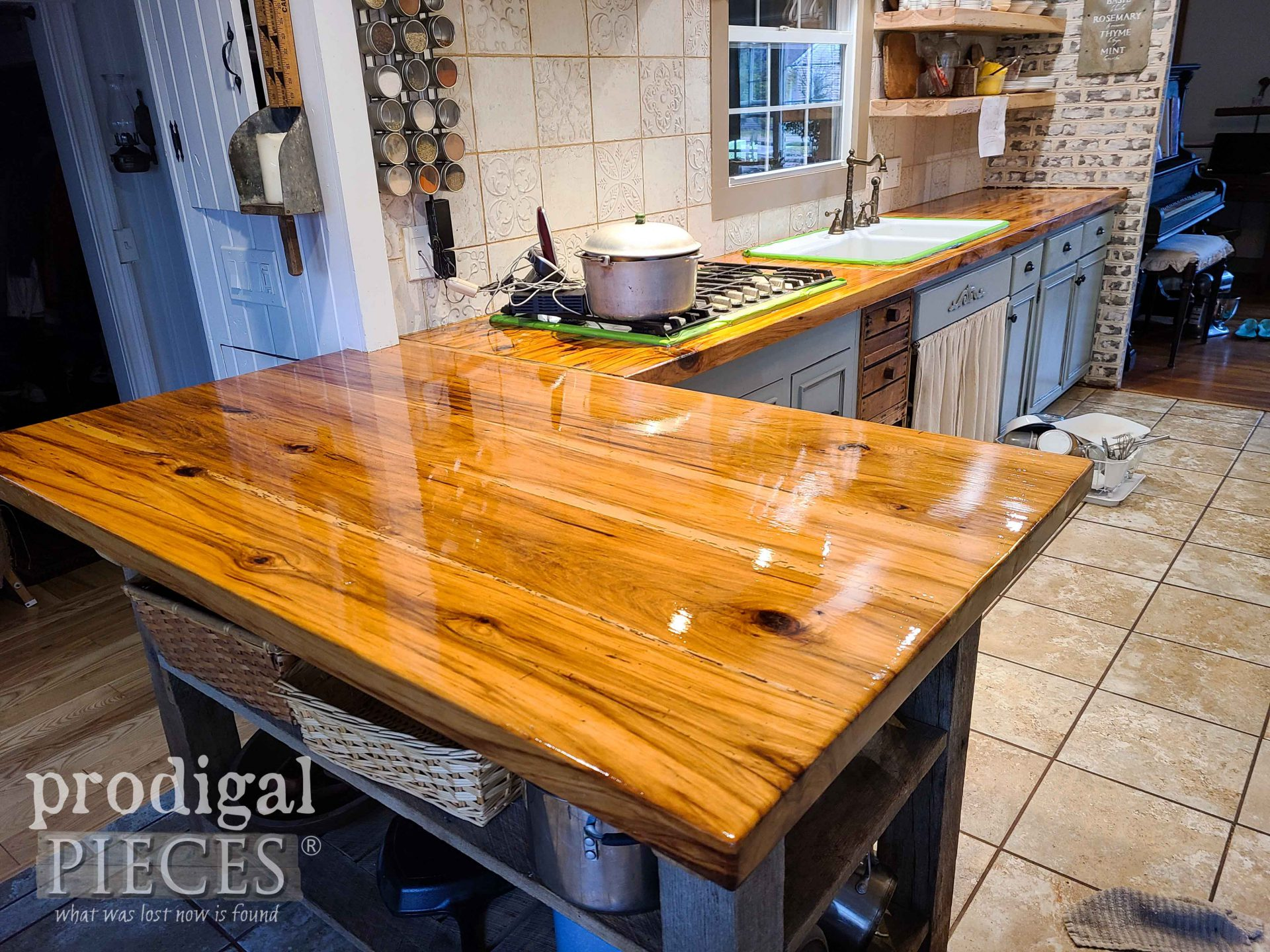 Reclaimed Wood Kitchen Counters Curing with Waterlox | by Prodigal Pieces | prodigalpieces.com #prodigalpieces #kitchen #diy