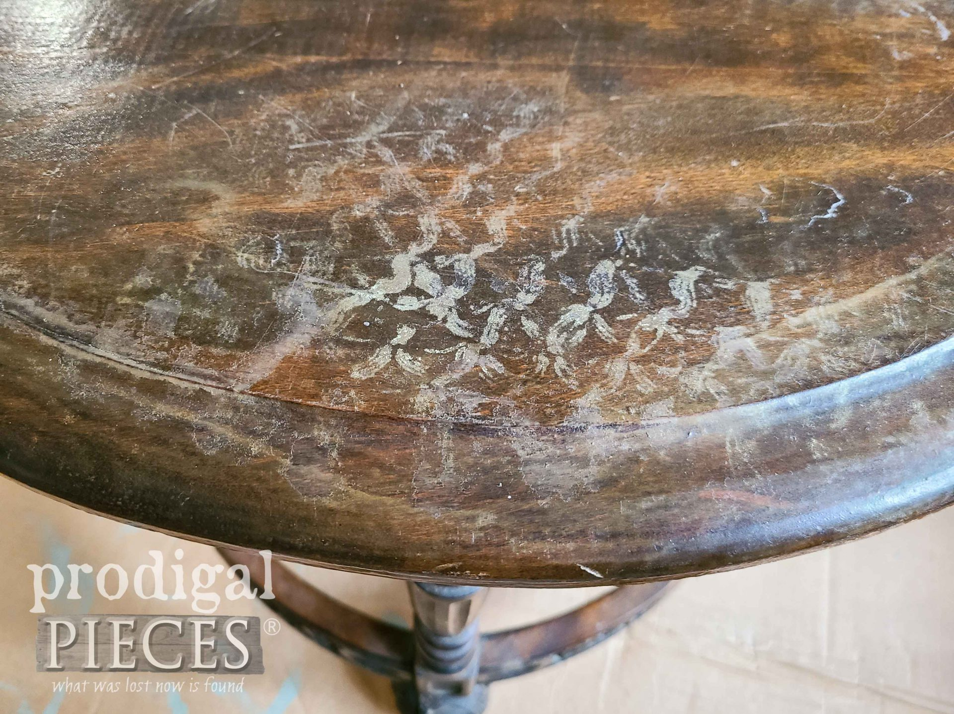 Damaged Antique Half Round Table Top | prodigalpieces.com #prodigalpieces