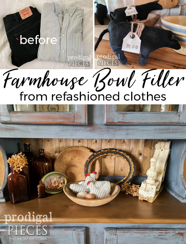 Grab those misfit and damaged clothes and refashion them into farmhouse bowl filler for home decor | Cute and fun! | Tutorial by Larissa of Prodigal Pieces | prodigalpieces.com #prodigalpieces #farmhouse #refashion #sewing #upcycled #home #homedecor