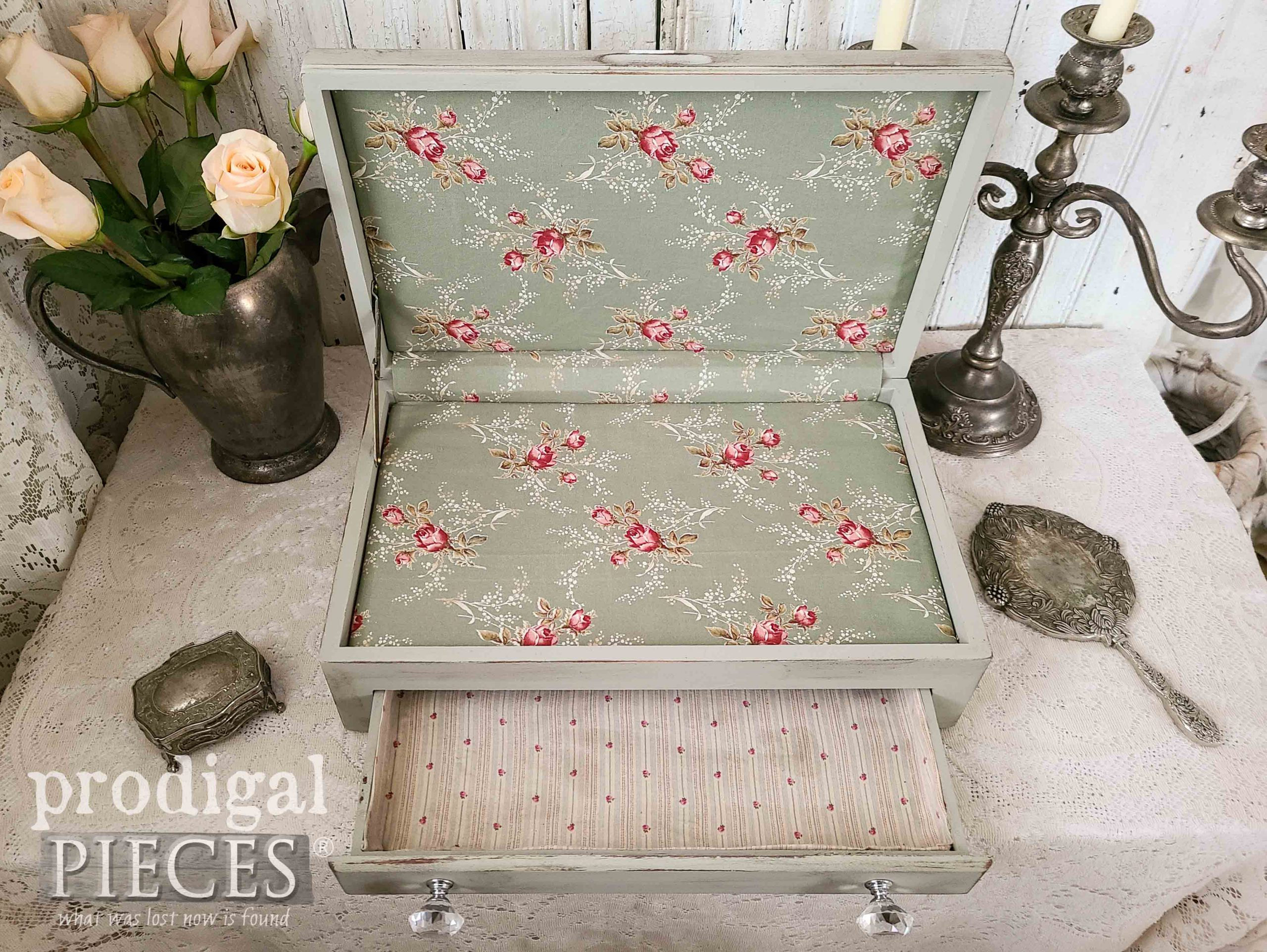 Fabric Lined Storage Box for Home Decor from Upcycled Silverware Chest by Larissa of Prodigal Pieces | prodigalpieces.com #prodigalpieces #diy #home #storage