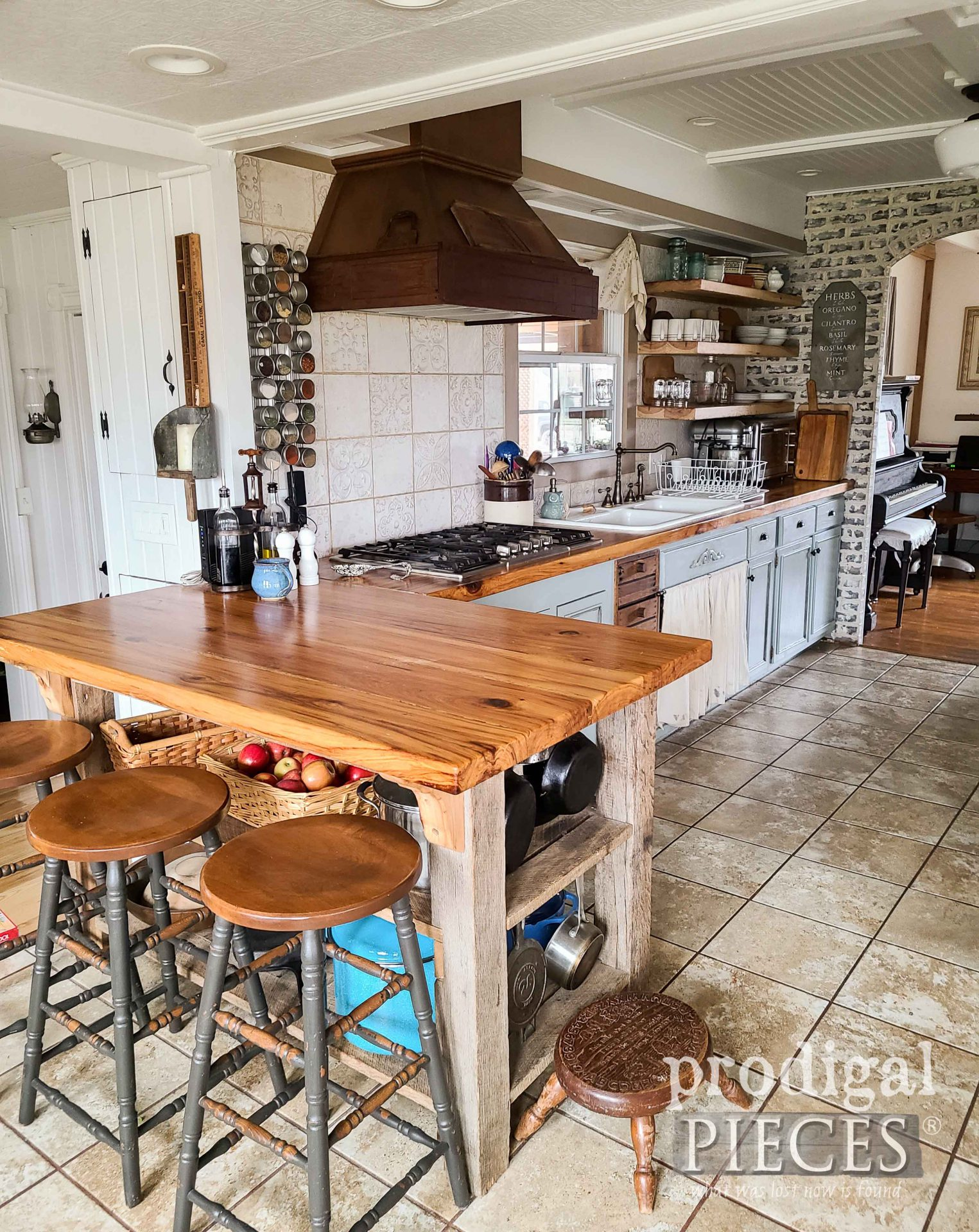 Farmhouse Kitchen with Reclaimed Wood Kitchen Counters by Larissa of Prodigal Pieces | prodigalpieces.com #prodigalpieces #farmhouse #kitchen #diy #home