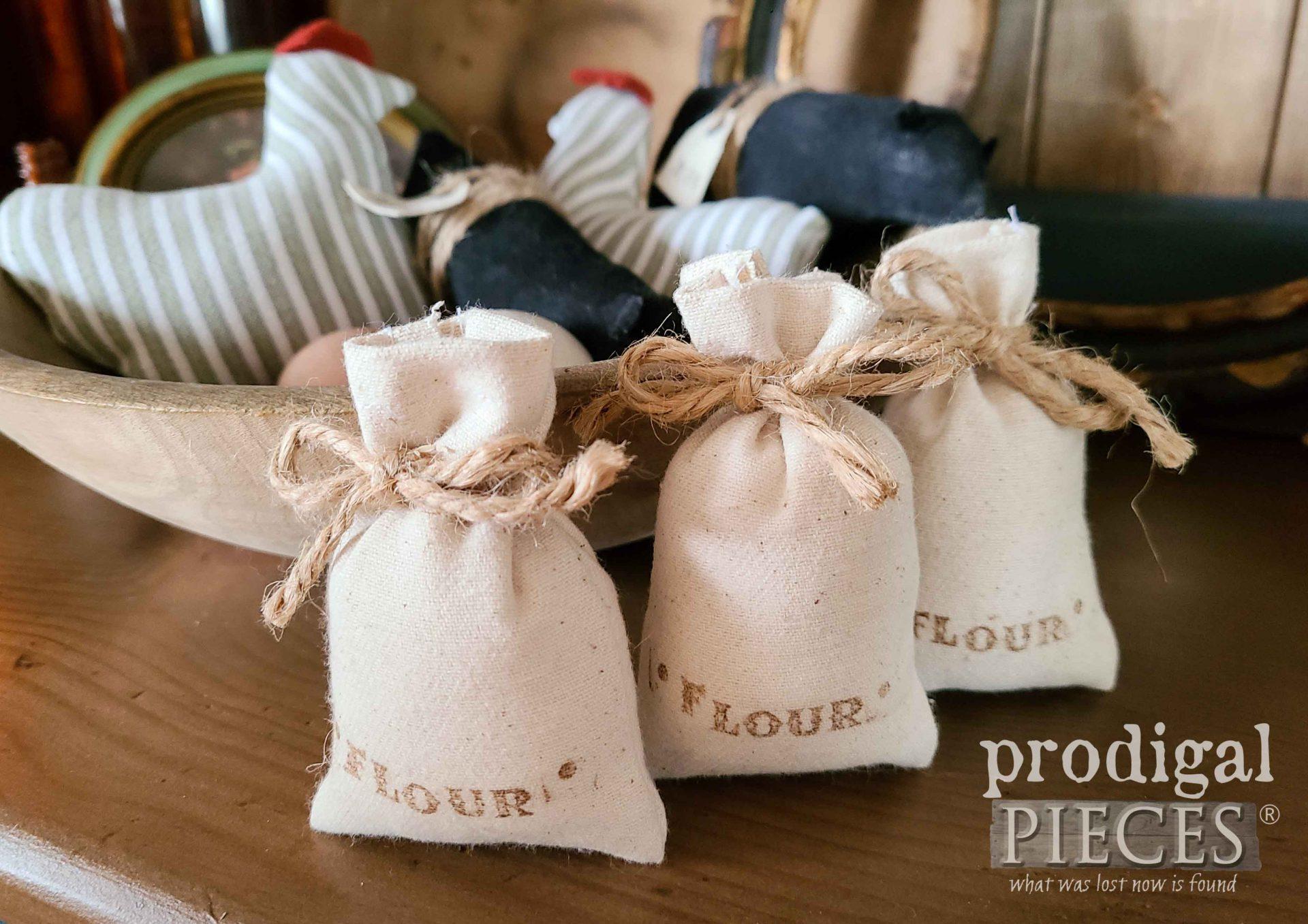 Farmhouse Mini Flour Sacks Upcycled Bowl Filler by Larissa of Prodigal Pieces   prodigalpieces.com #prodigalpieces #farmhouse #diy #home #handmade #homedecor