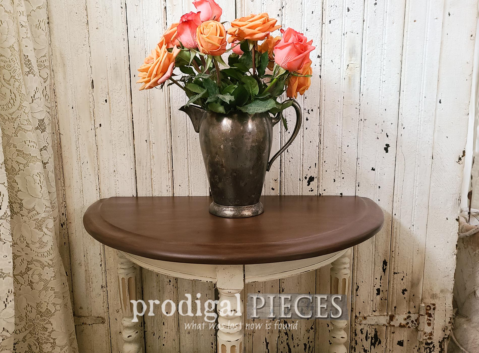 Featured Antique Half Round Table Makeover by Larissa of Prodigal Pieces | prodigalpieces.com #prodigalpieces #furniture #home #homedecor