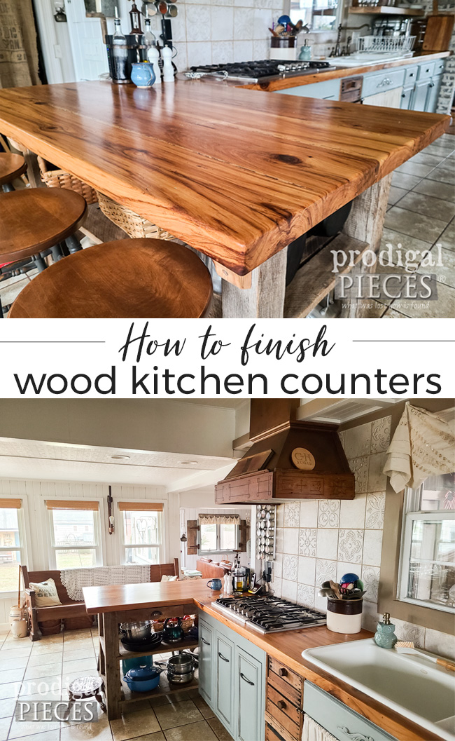 Thinking about installing wood kitchen counters? Head to Prodigal Pieces for choices of finishes, plus tips & tricks | Prodigal Pieces | prodigalpieces.com #prodigalpieces #diy #farmhouse #kitchen #reclaimed #home #homedecor