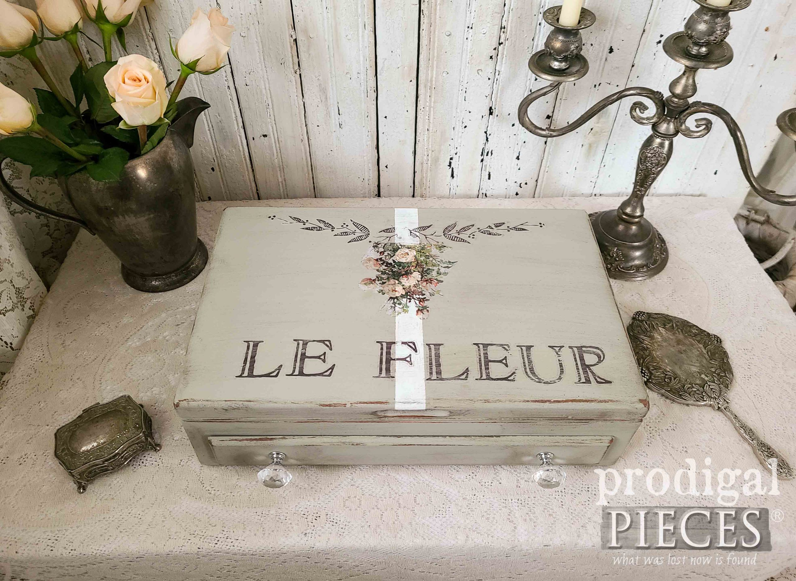 French Chic Storage Box from Upcycled Silverware Chest by Larissa of Prodigal Pieces | prodigalpieces.com #prodigalpieces #shabbychic #diy #upcycled