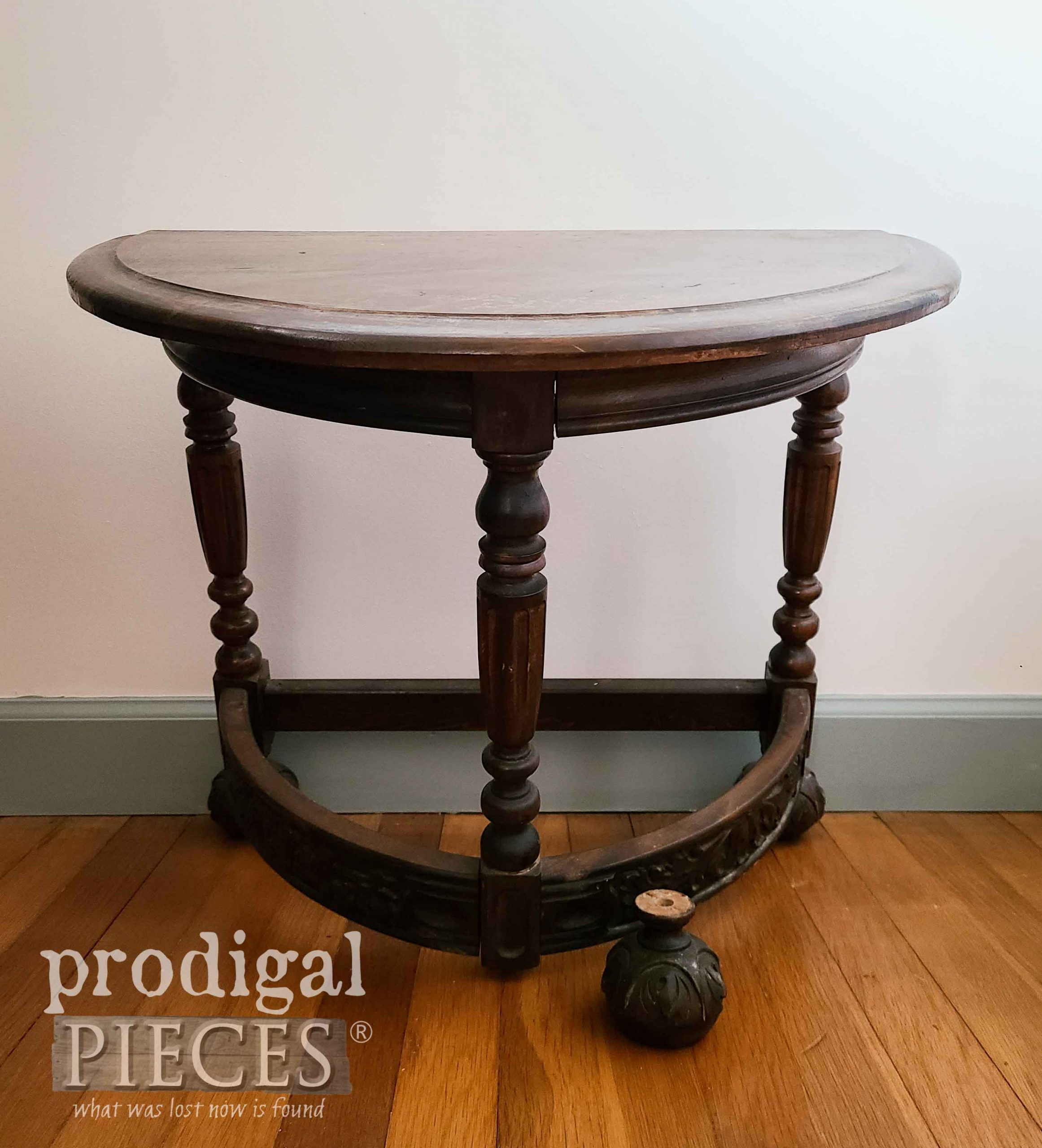 Antique Half-Round Table Before Makeover by Prodigal Pieces | prodigalpieces.com