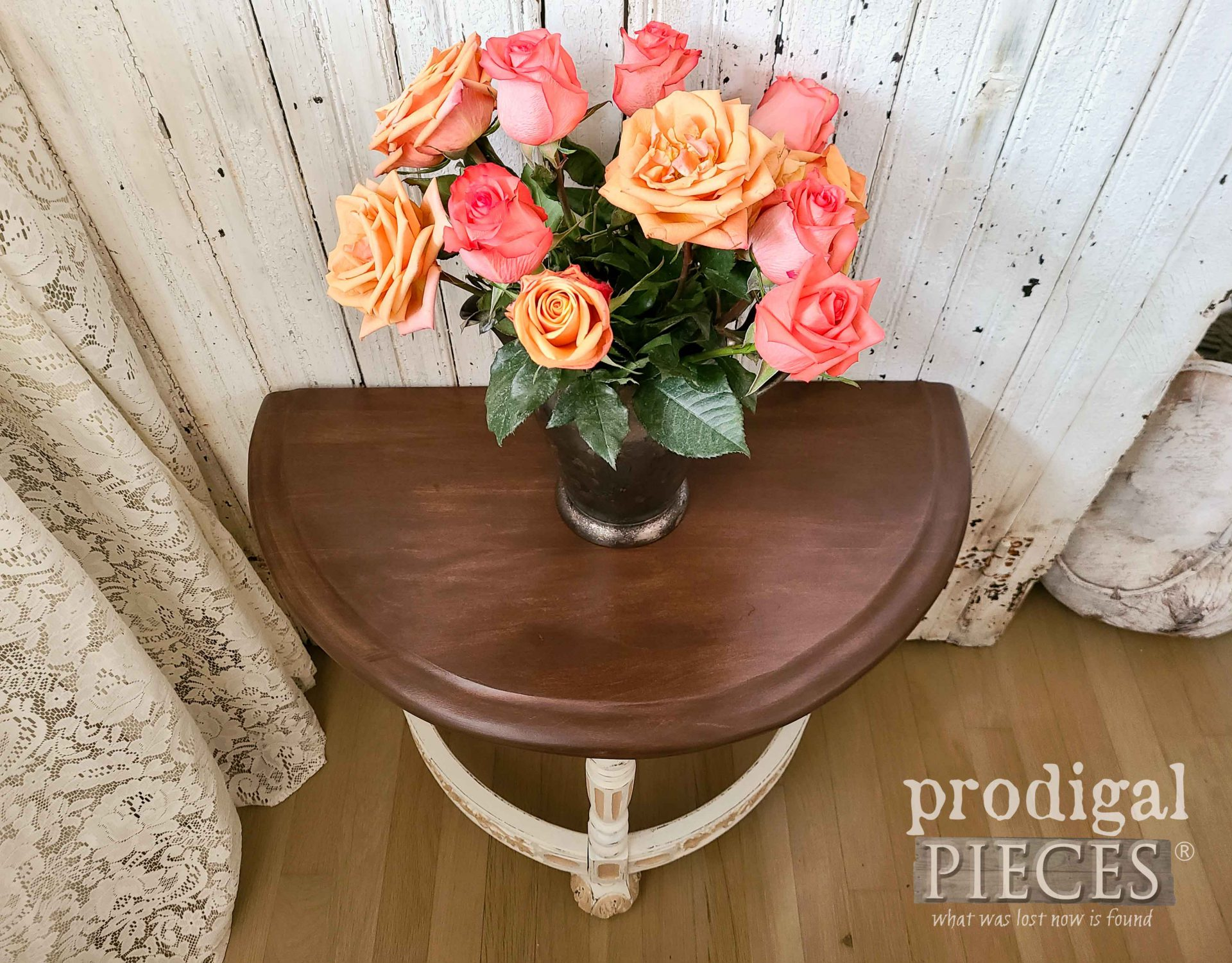 Half Round Table Top with Intricate Carvings by Larissa of Prodigal Pieces | prodigalpieces.com #prodigalpieces #furniture #antique