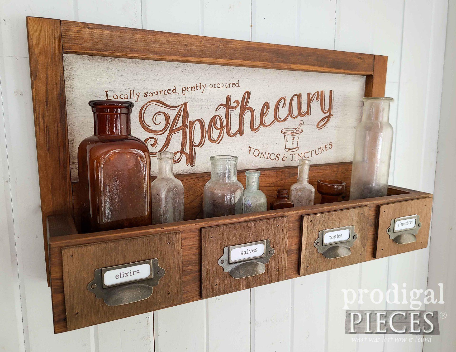 Handmade Apothecary Style Shelf by Larissa of Prodigal Pieces | prodigalpieces.com #prodigalpieces #handmade #farmhouse #home #homedecor