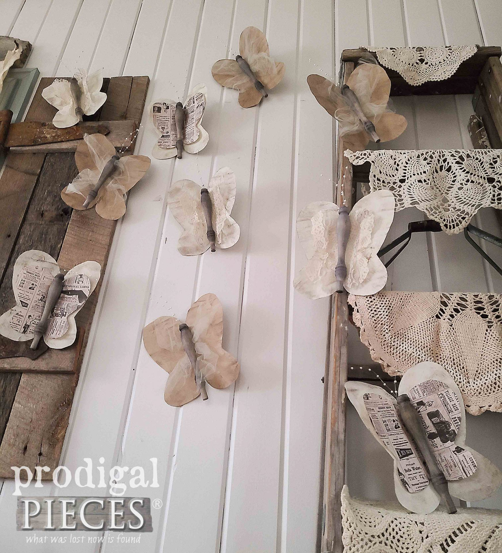 Handmade Butterflies from Upcycled Spindles by Larissa of Prodigal Pieces | prodigalpieces.com #prodigalpieces