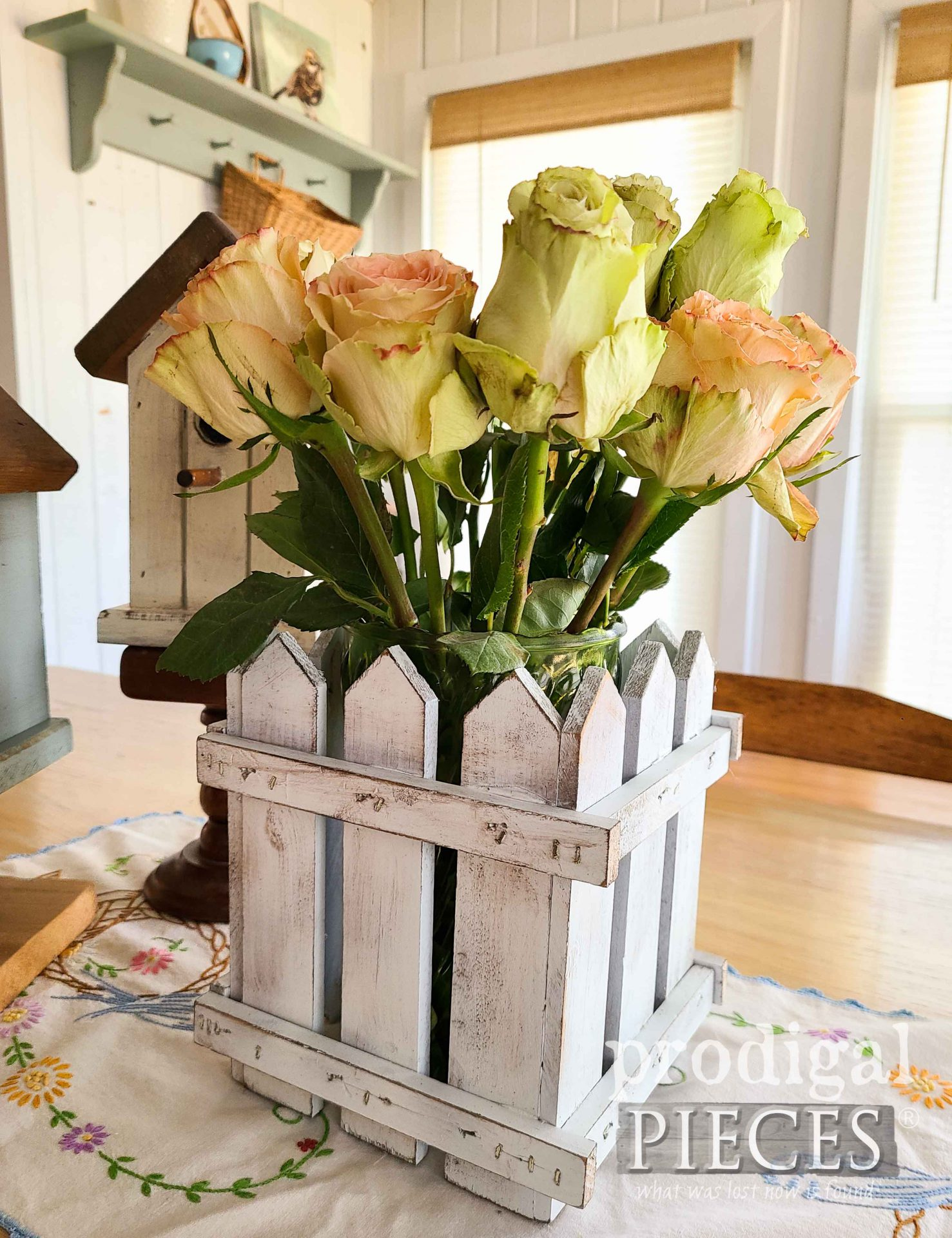 Handmade White Picket Fence Box for Home Decor from Upcycled Vintage Shelf by Larissa of Prodigal Pieces   prodigalpieces.com #prodigalpieces #handmade #home #homedecor #diy