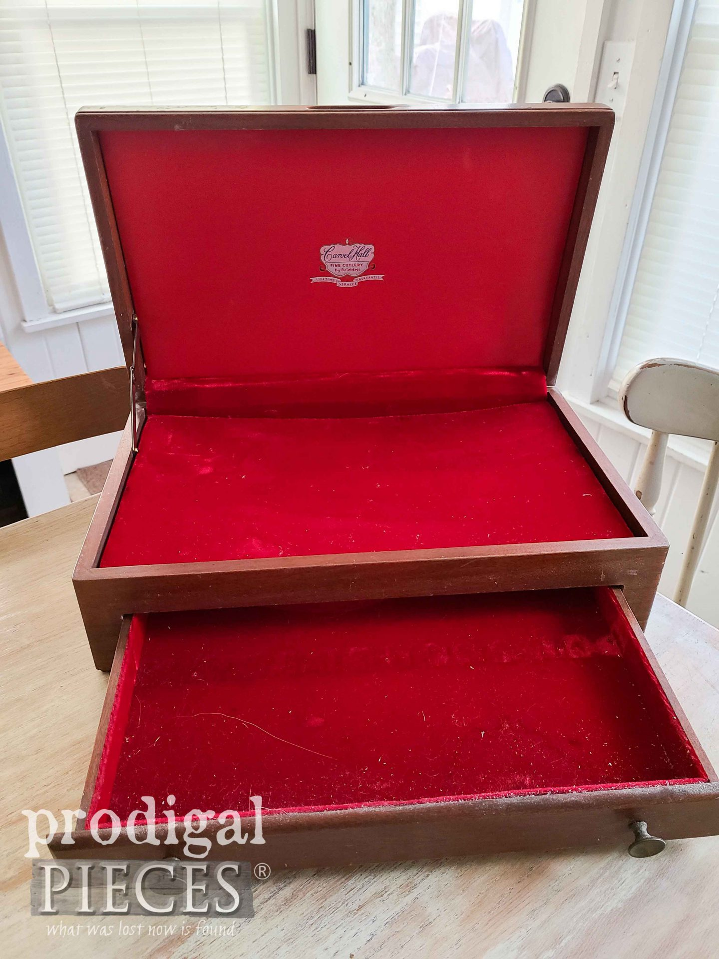 Inside Silverware Chest with Red Lining | prodigalpieces.com #prodigalpieces