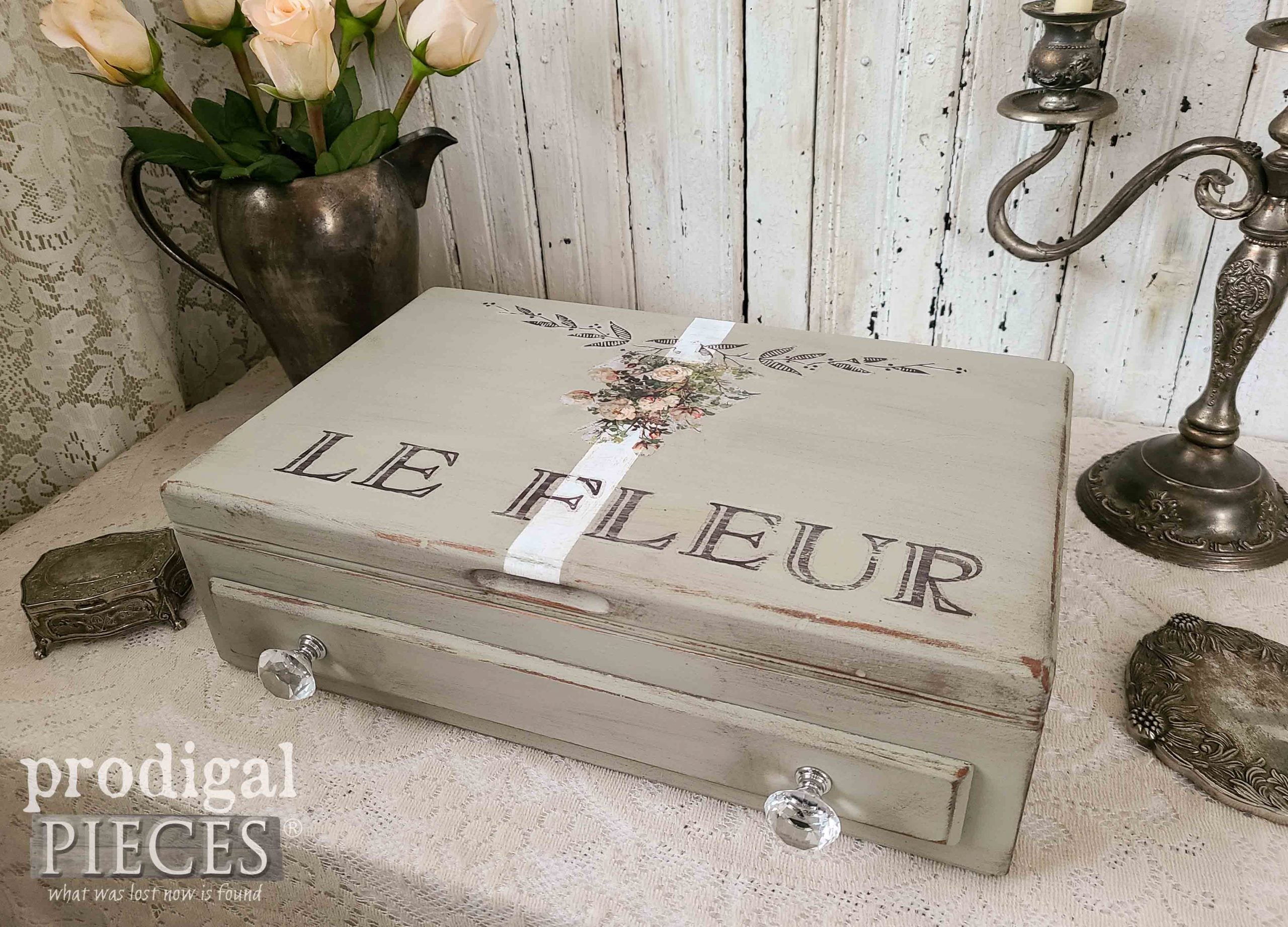 Le Fleur Storage Box from Upcycled Silverware Chest by Larissa of Prodigal Pieces | prodigalpieces.com #prodigalpieces