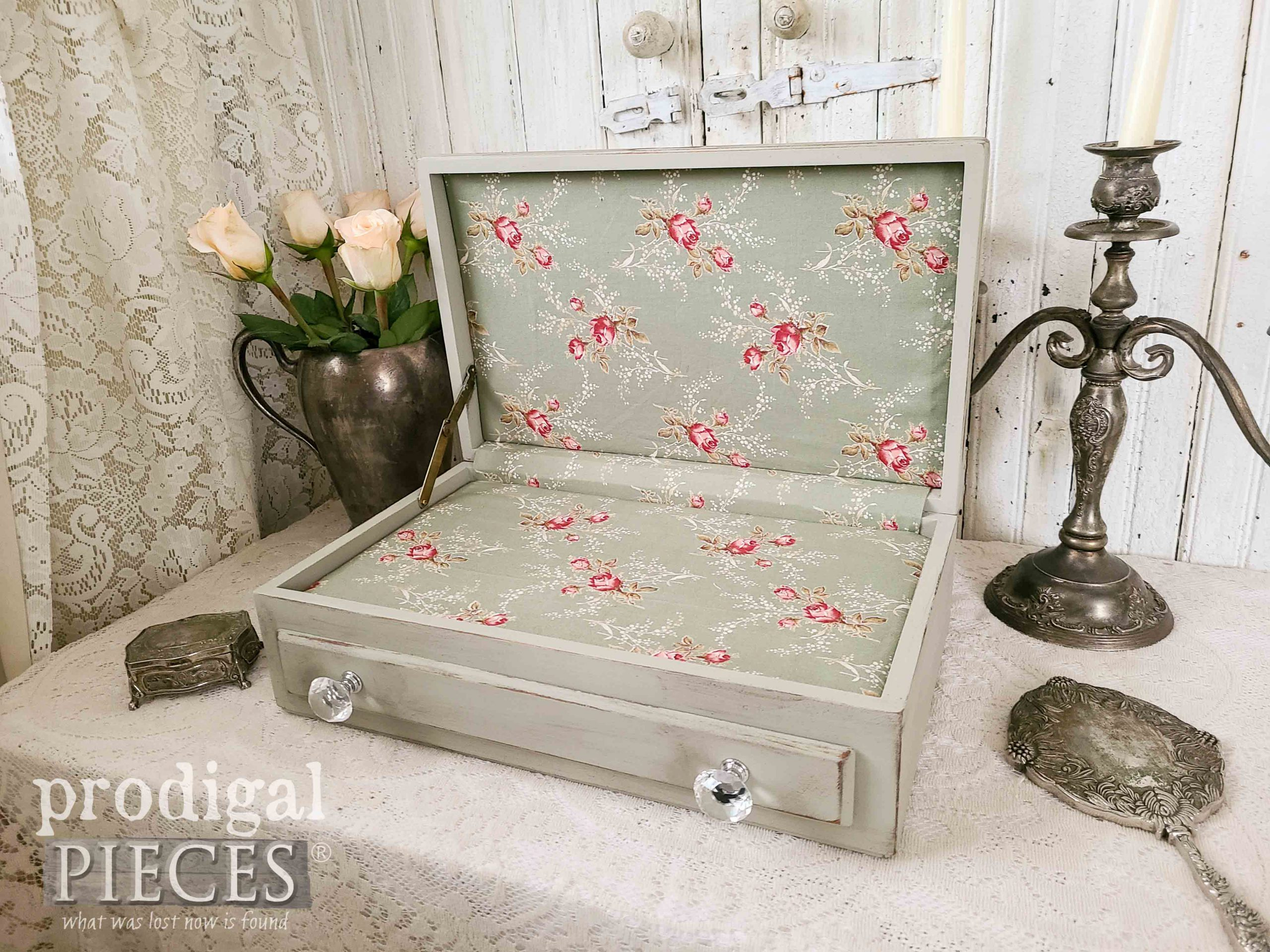 Open Fabric-Lined Upcycled Silverware Chest | prodigalpieces.com #prodigalpieces #diy #home #homedecor