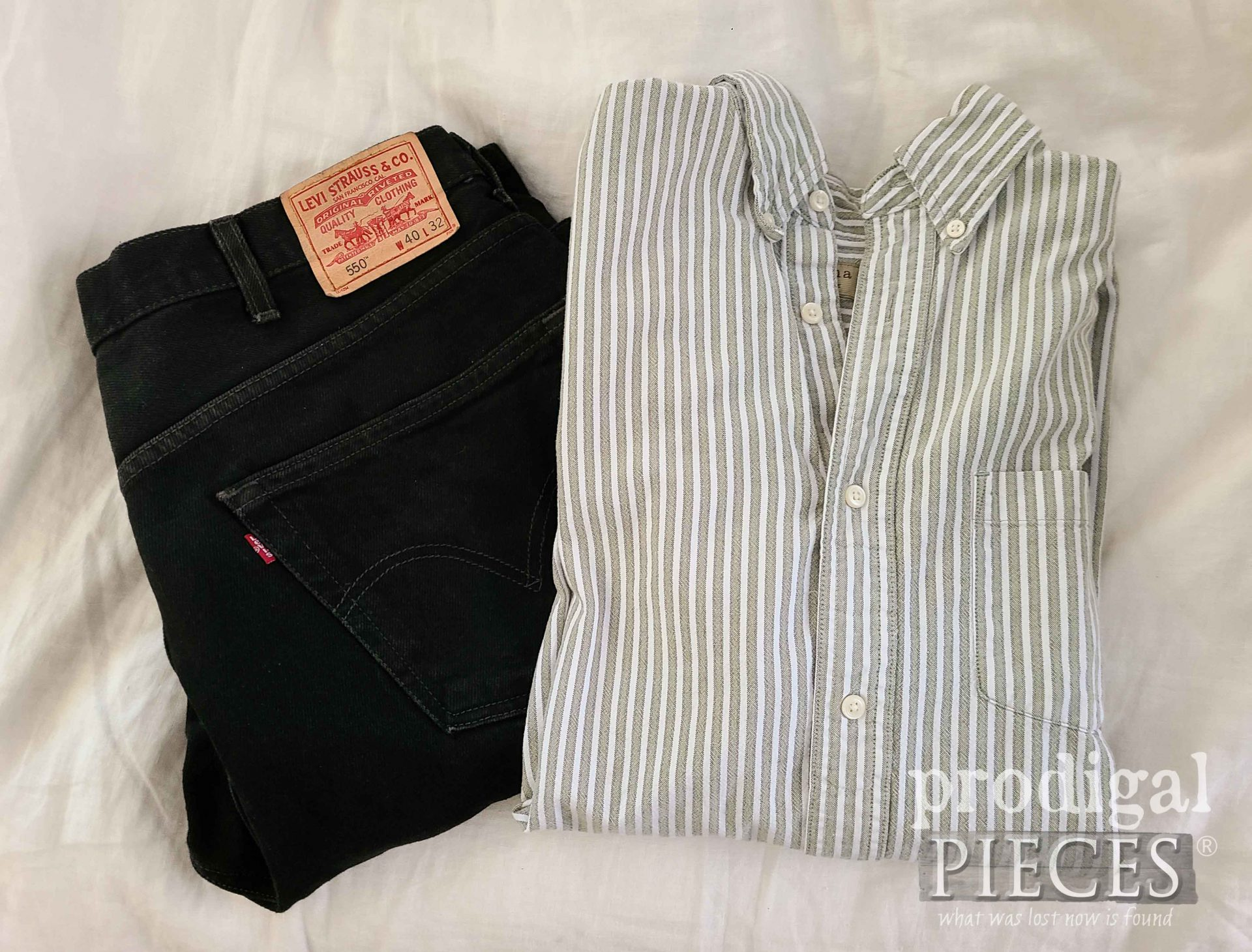 Pants and Shirt Before Refashion by Larissa of Prodigal Pieces | prodigalpieces.com