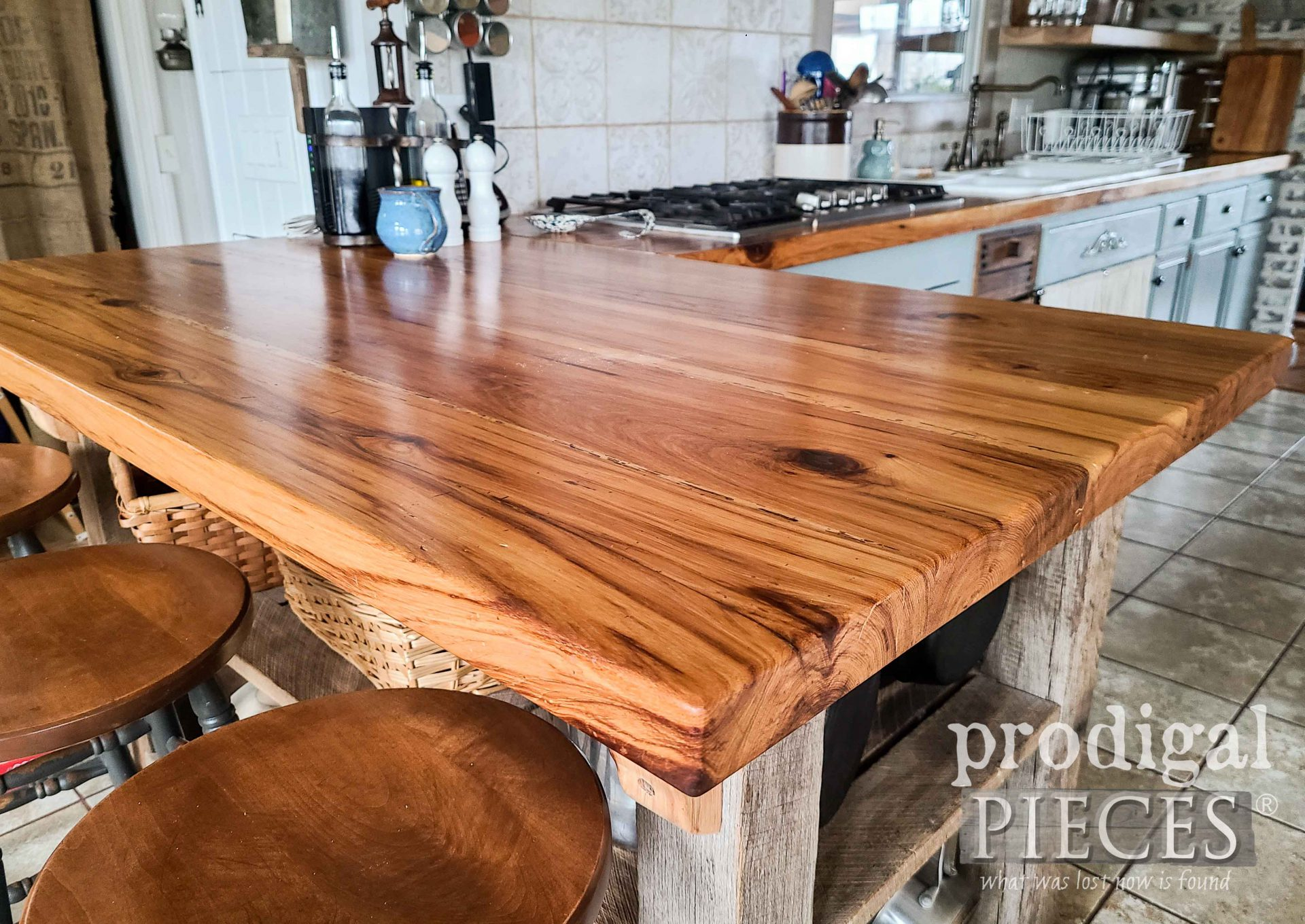 Reclaimed Hickory Wood Kitchen Counter by Larissa of Prodigal Pieces | prodigalpieces.com #prodigalpieces #diy #home #kitchen #wood