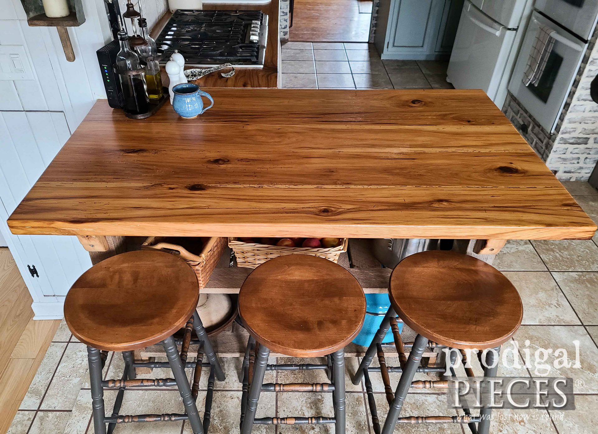 Reclaimed Hickory Wood Kitchen Peninsula by Larissa of Prodigal Pieces | prodigalpieces.com #prodigalpieces #diy #kitchen