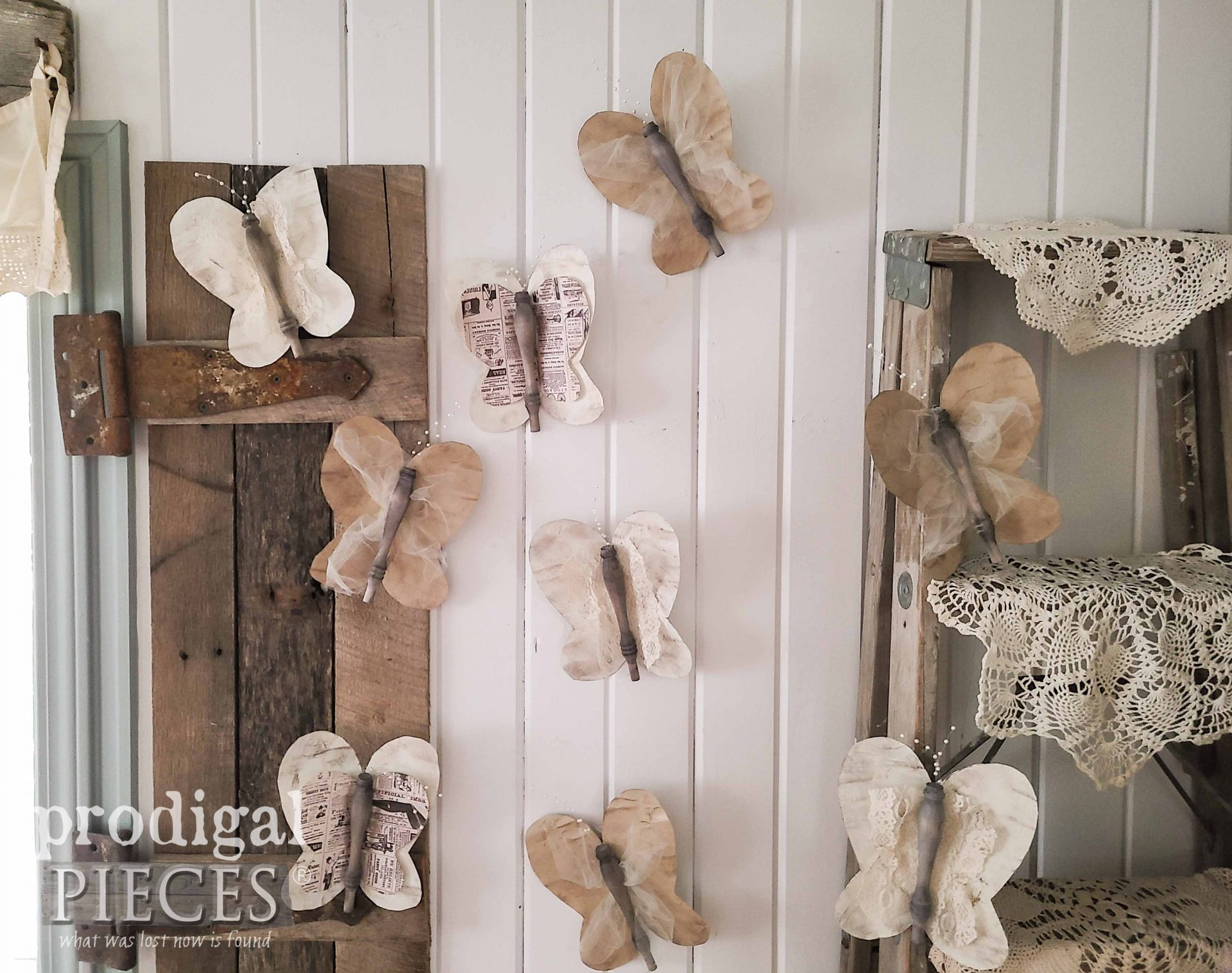 Rustic Farmhouse Butterflies Created from Upcycled Spindles by Larissa of Prodigal Pieces | prodigalpieces.com #prodigalpieces #crafts #diy #home #homedecor