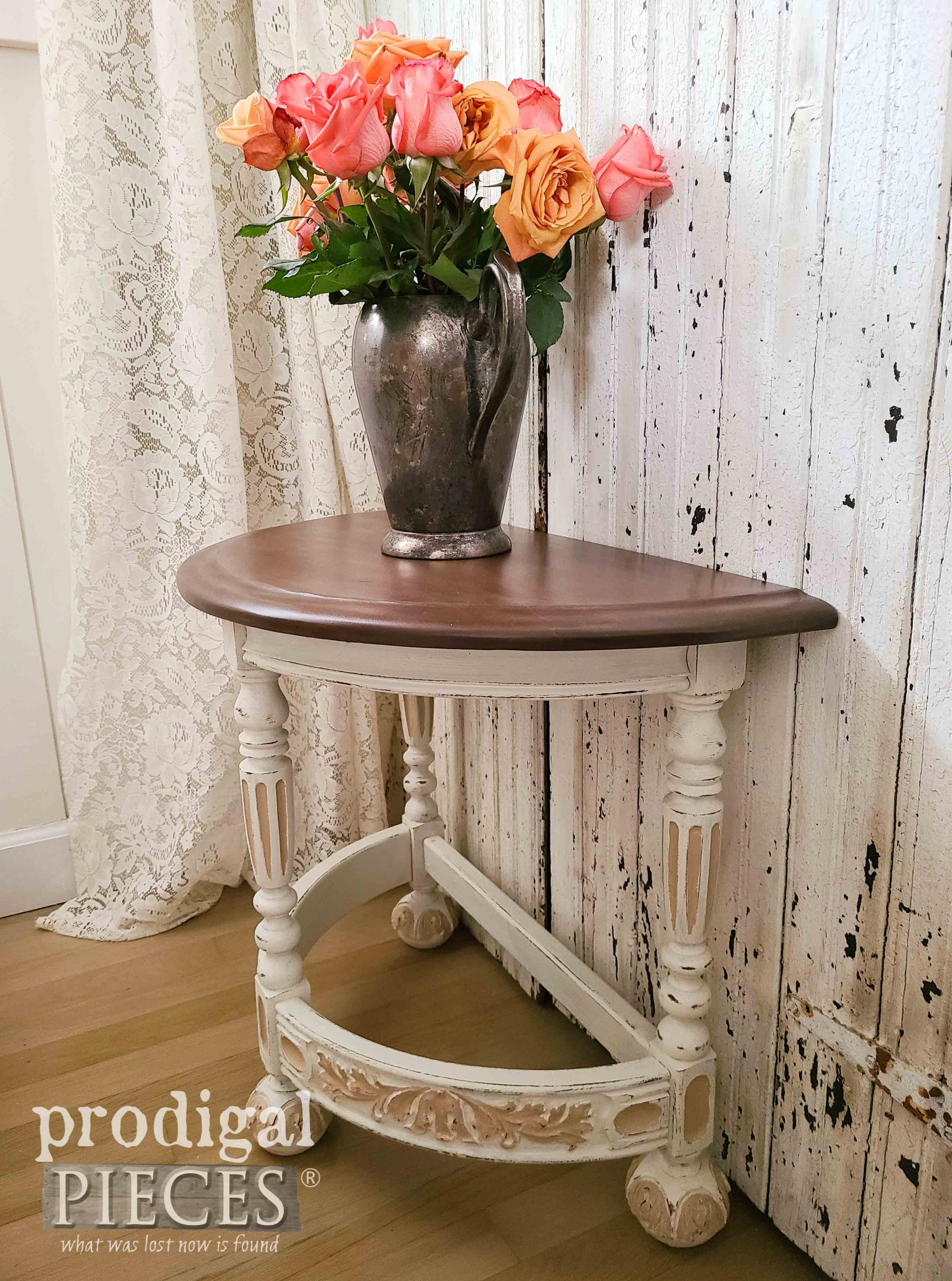 Side View of Half Round Antique Table by Larissa of Prodigal Pieces | prodigalpieces.com #prodigalpieces #furniture #antique #farmhouse #cottage