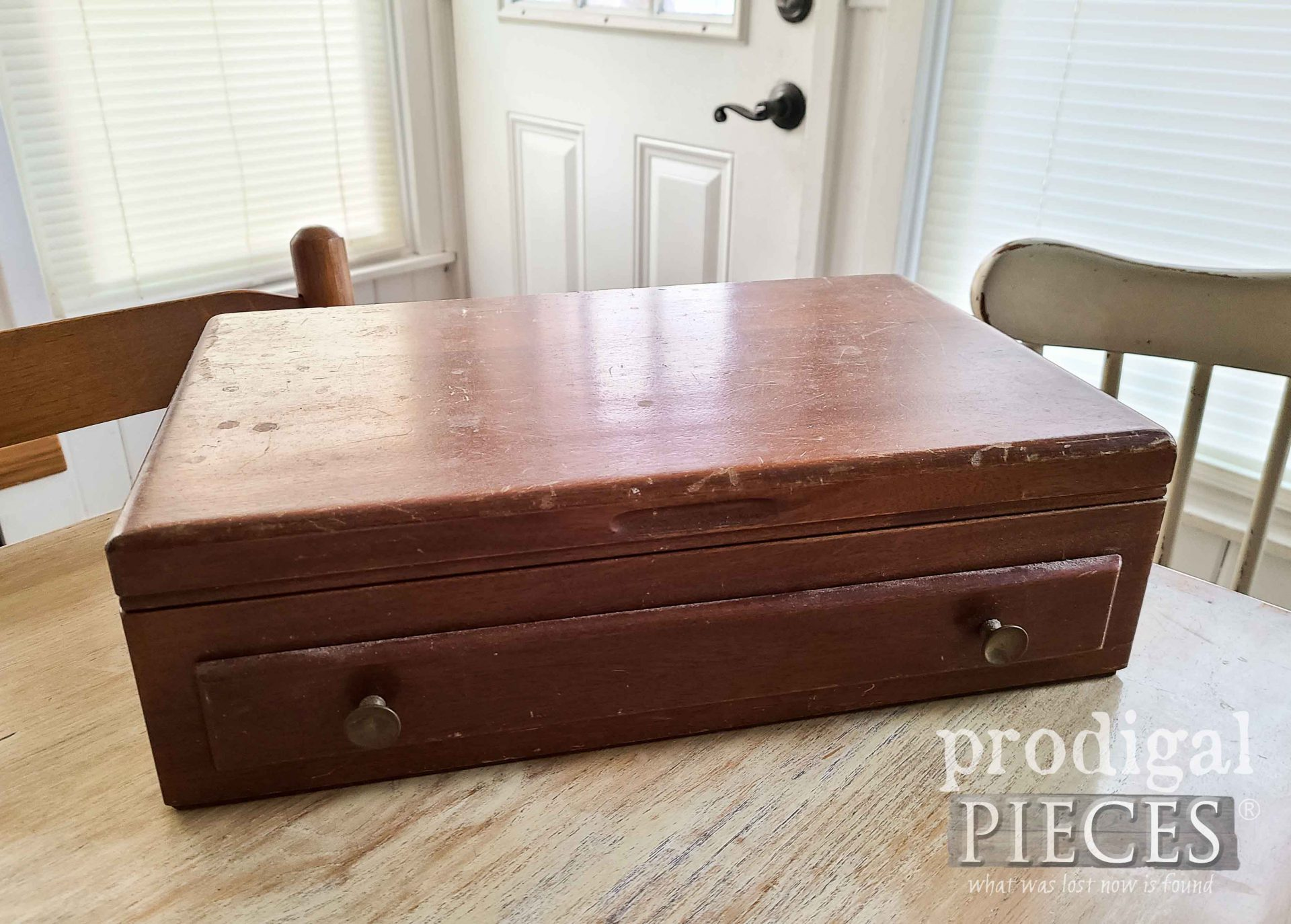 Vintage Silverware Box Before Upcycle by Larissa of Prodigal Pieces | prodigalpieces.com