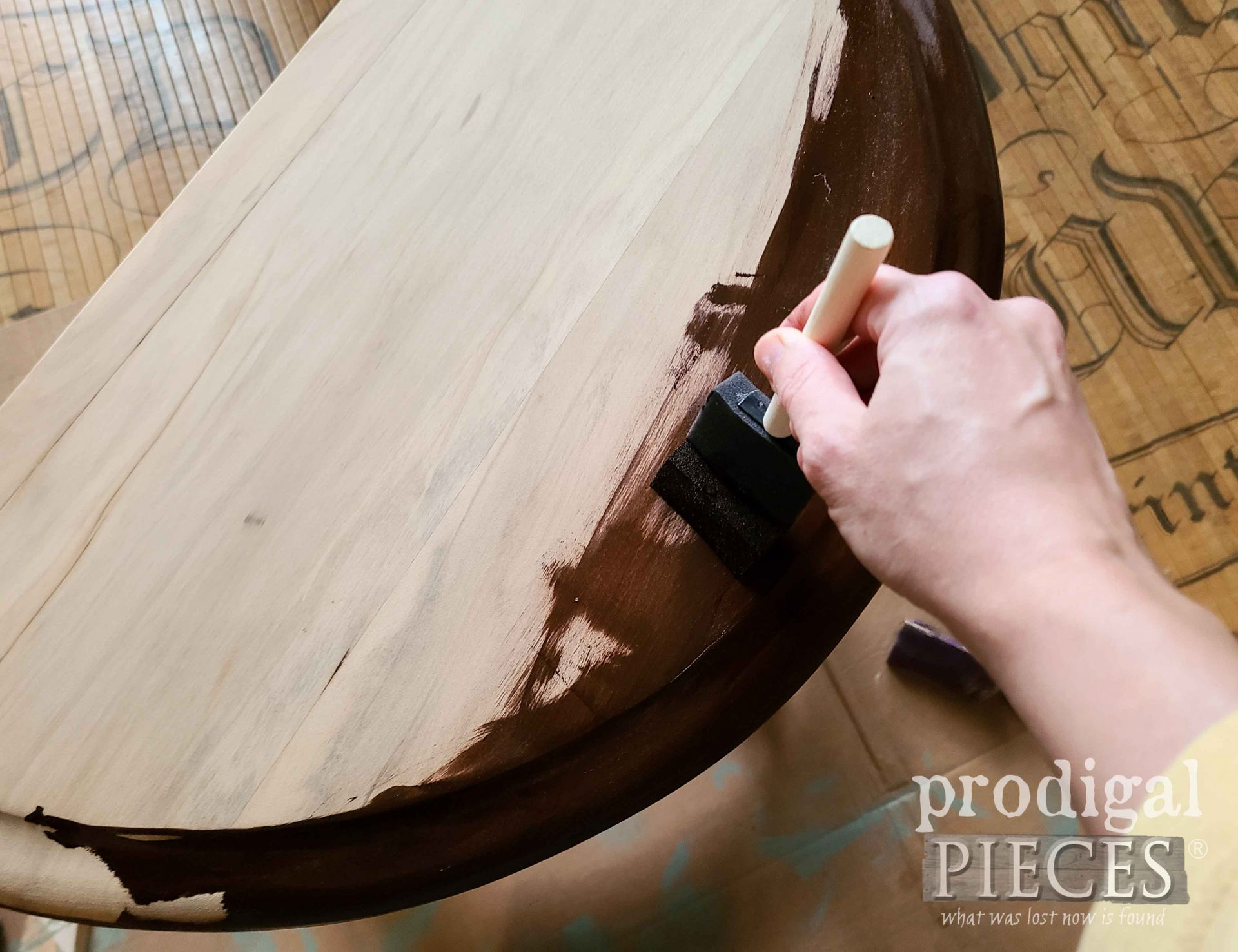 Staining an Antique Half Round Table | prodigalpieces.com