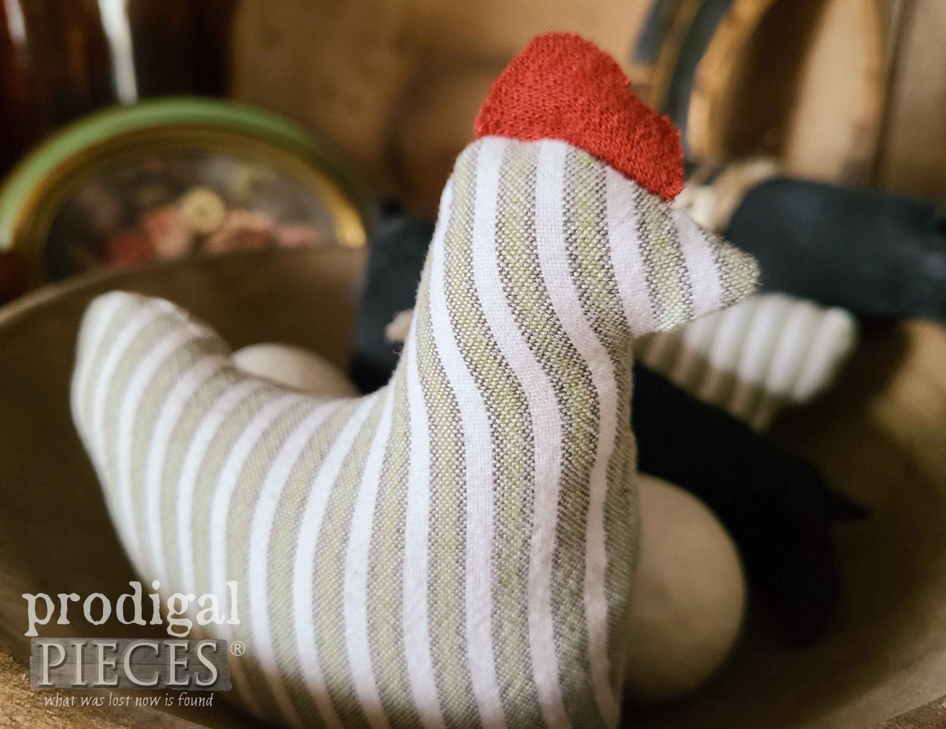 Striped Stuffed Chicken for Upcycled Bowl Filler from Refashioned Clothes by Larissa of Prodigal Pieces   prodigalpieces.com #prodigalpieces #diy #sewing #crafts #farmhouse