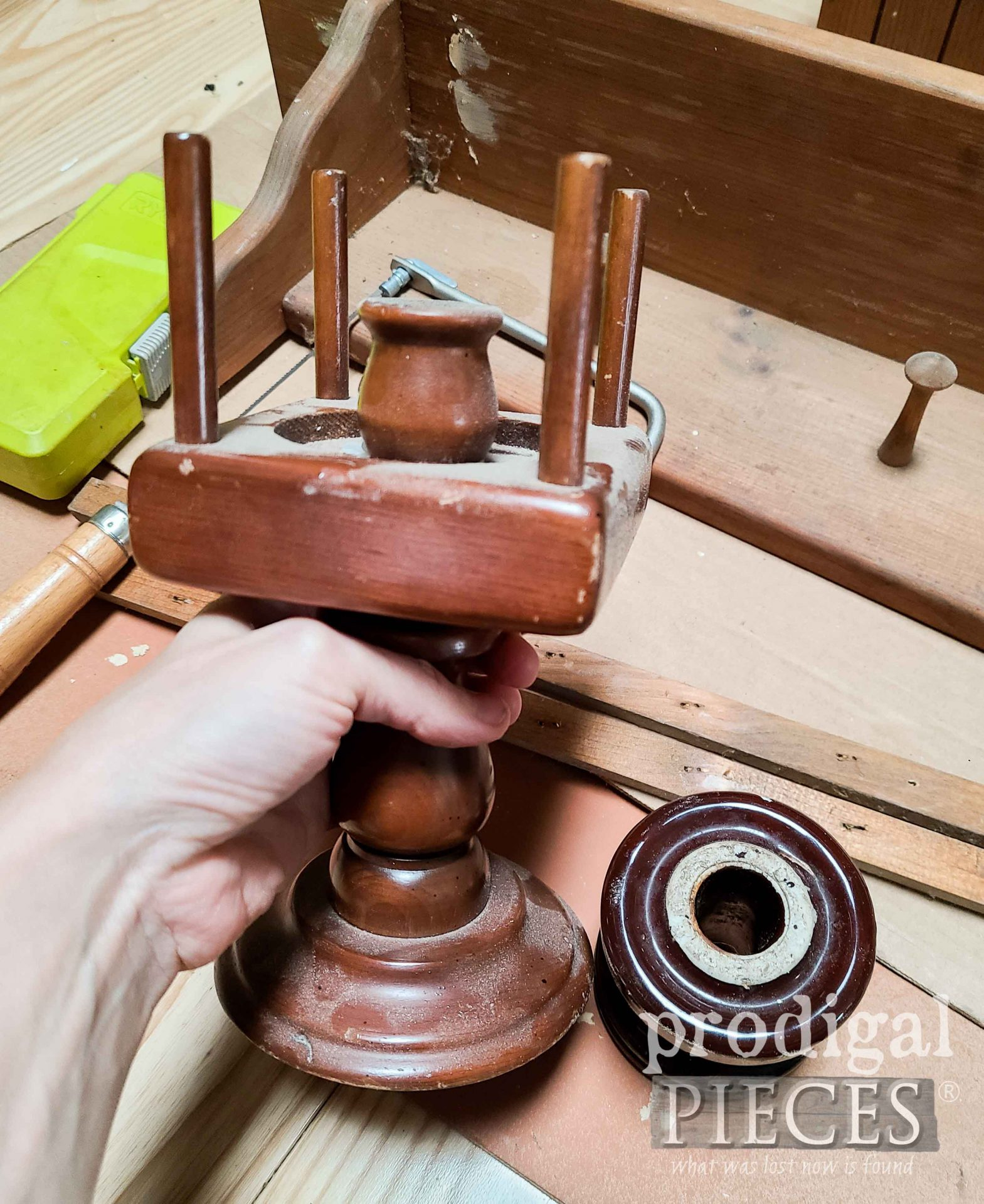Thrifted Wooden Accessories for Upcycled Vintage Shelf   prodigalpieces.com #prodigalpieces