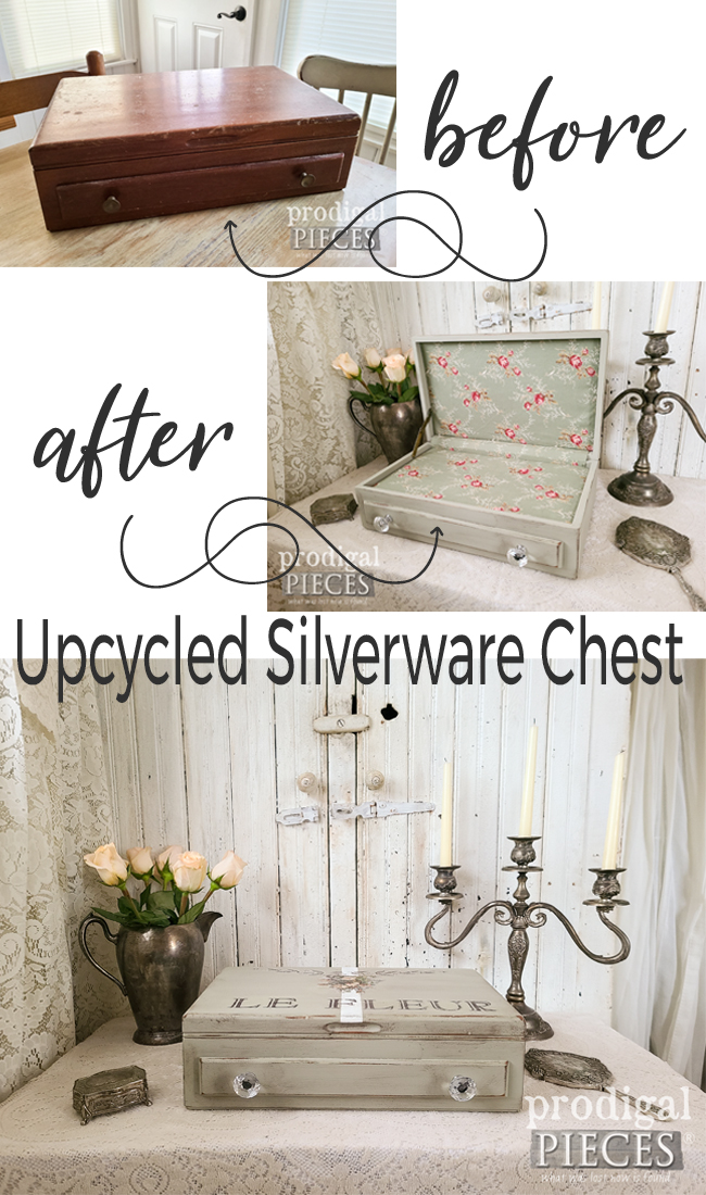 Upcycled Silverware Chest Turned into French Chic Storage Box by Larissa of Prodigal Pieces | prodigalpieces.com #prodigalpieces #diy #home #upcycled #homedecor