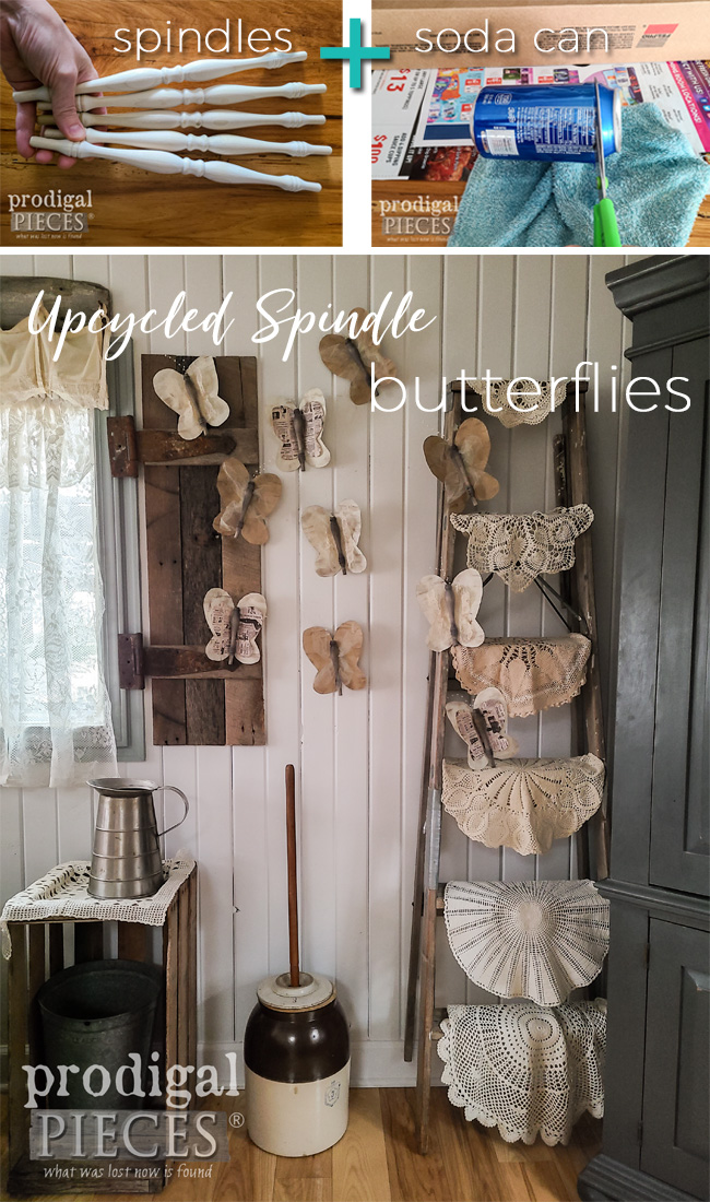 Upcycled Spindle Butterflies for Salvaged Art Style by Larissa of Prodigal Pieces | prodigalpieces.com #prodigalpieces #diy #crafts #art #home #homedecor