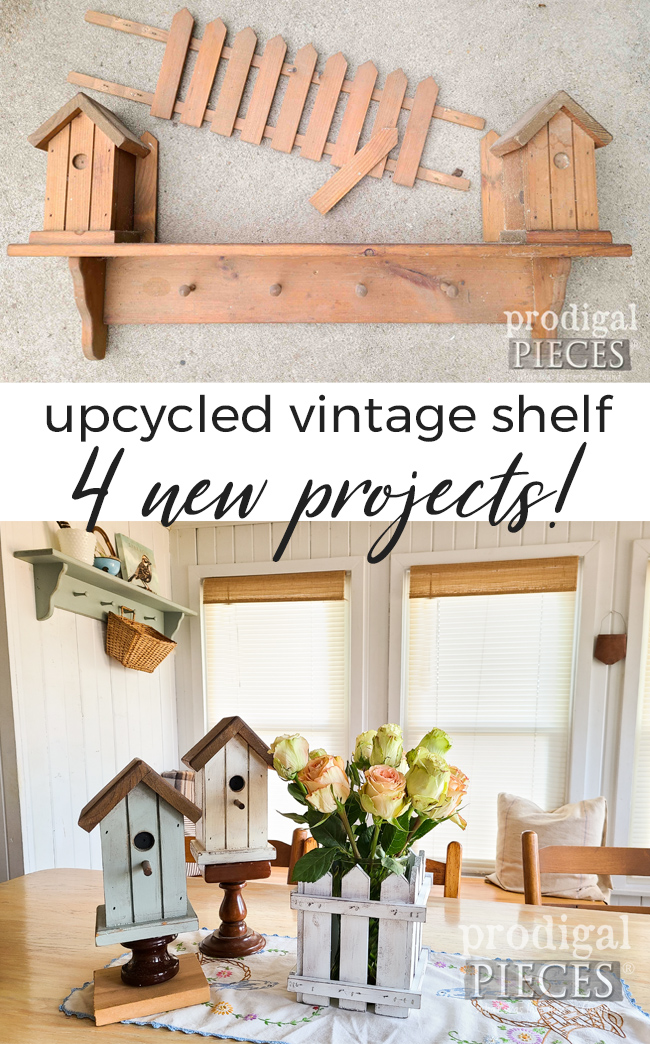 This cast-off vintage shelf is upcycled into 4 different projects for your home. See the DIY by Larissa of Prodigal Pieces | prodigalpieces.com #prodigalpieces #diy #vintage #home #homedecor #spring