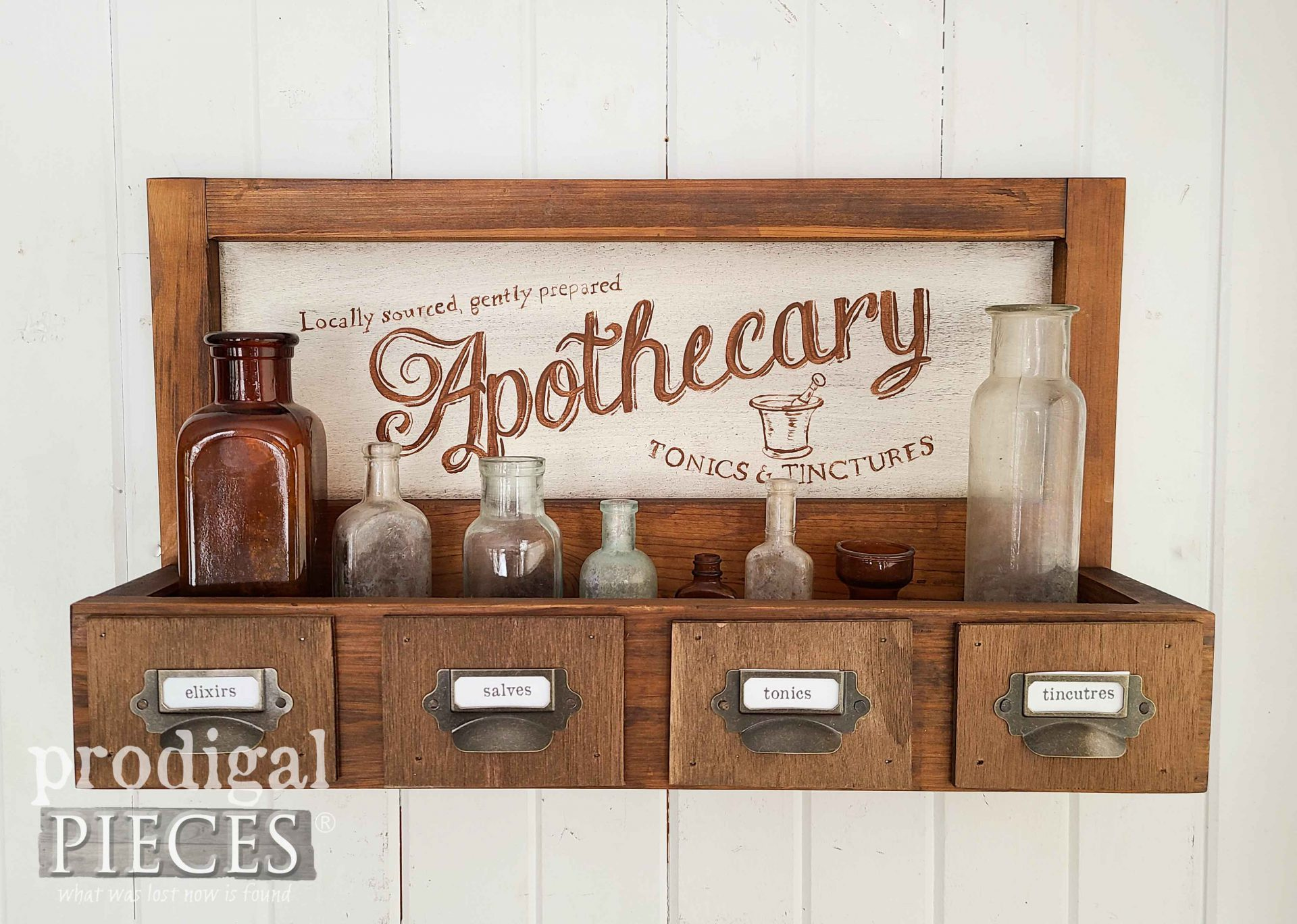Vintage Apothecary Wall Box with Typography by Larissa of Prodigal Pieces | prodigalpieces.com #prodigalpieces #diy #farmhouse #apothecary #home