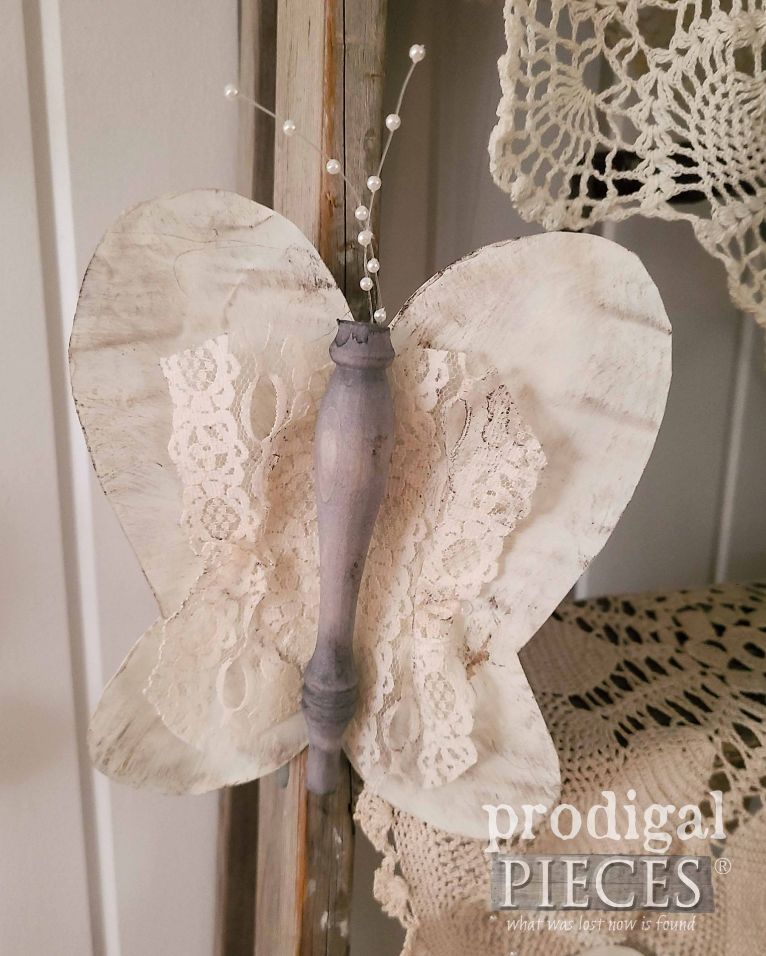 Vintage Lace Butterfly By Larissa of Prodigal Pieces | prodigalpieces.com #prodigalpieces #crafts #diy