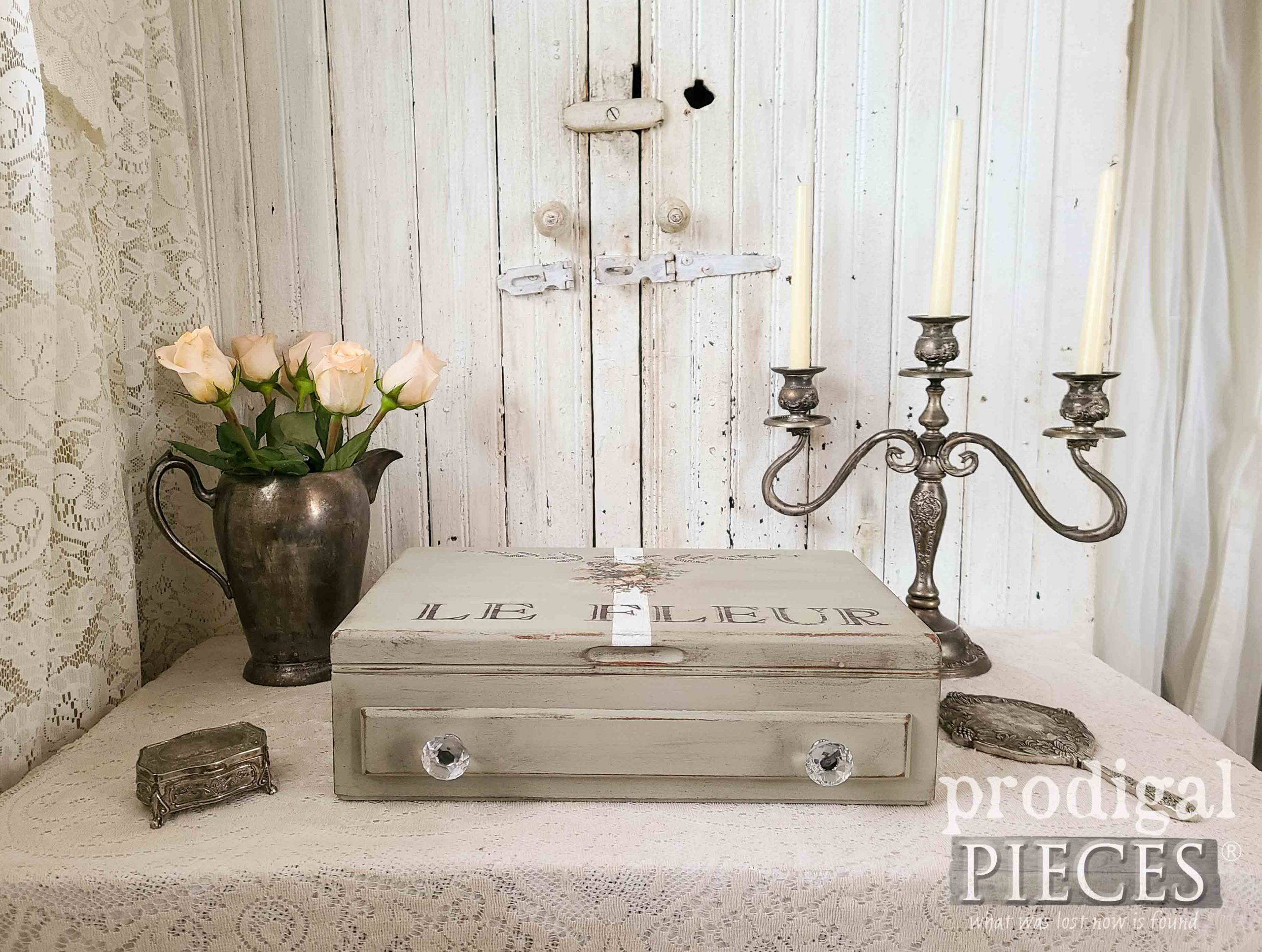 Vintage Silverware Chest Upcycled into French Chic Storage Box by Larissa of Prodigal Pieces | prodigalpieces.com #prodigalpieces #diy #home #homedecor #upcycled