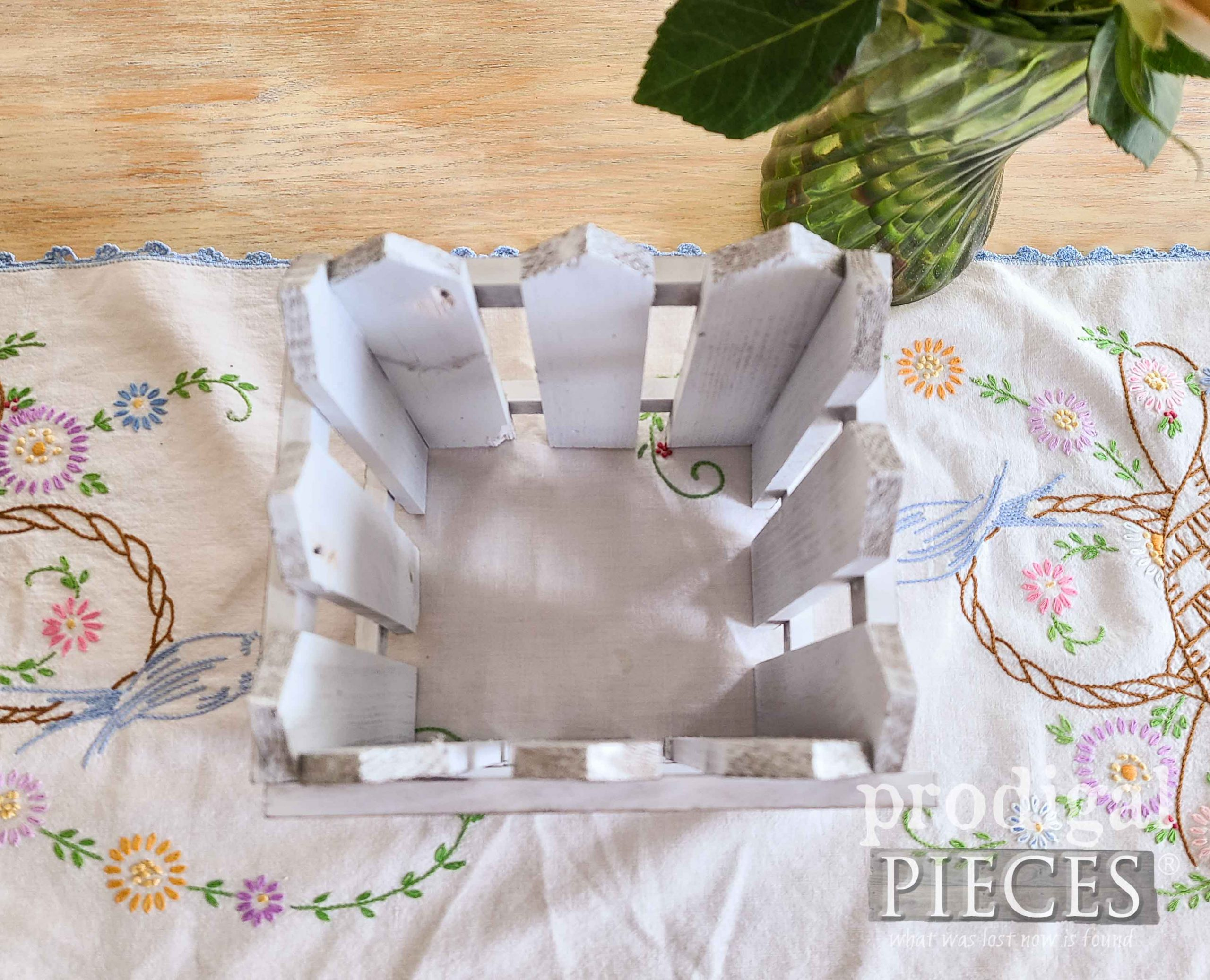White Picket Vase Cover from Upcycled Vintage Shelf by Larissa of Prodigal Pieces | prodigalpieces.com #prodigalpieces #diy #vintage #home