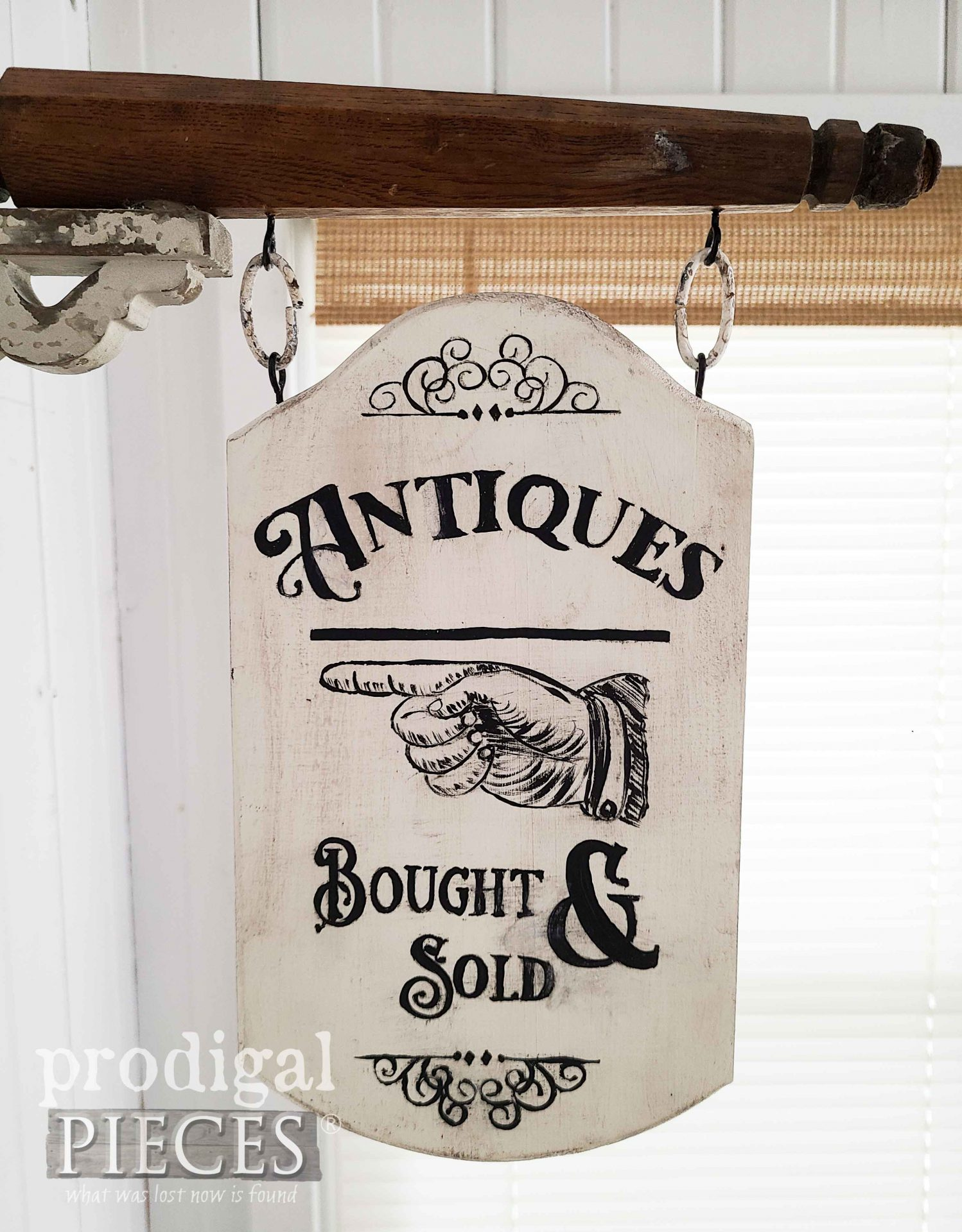 Hand-Painted Antiques Sign from Upcycled Chair Legs by Larissa of Prodigal Pieces | prodigalpieces.com #prodigalpieces #farmhouse #diy #home #homedecor