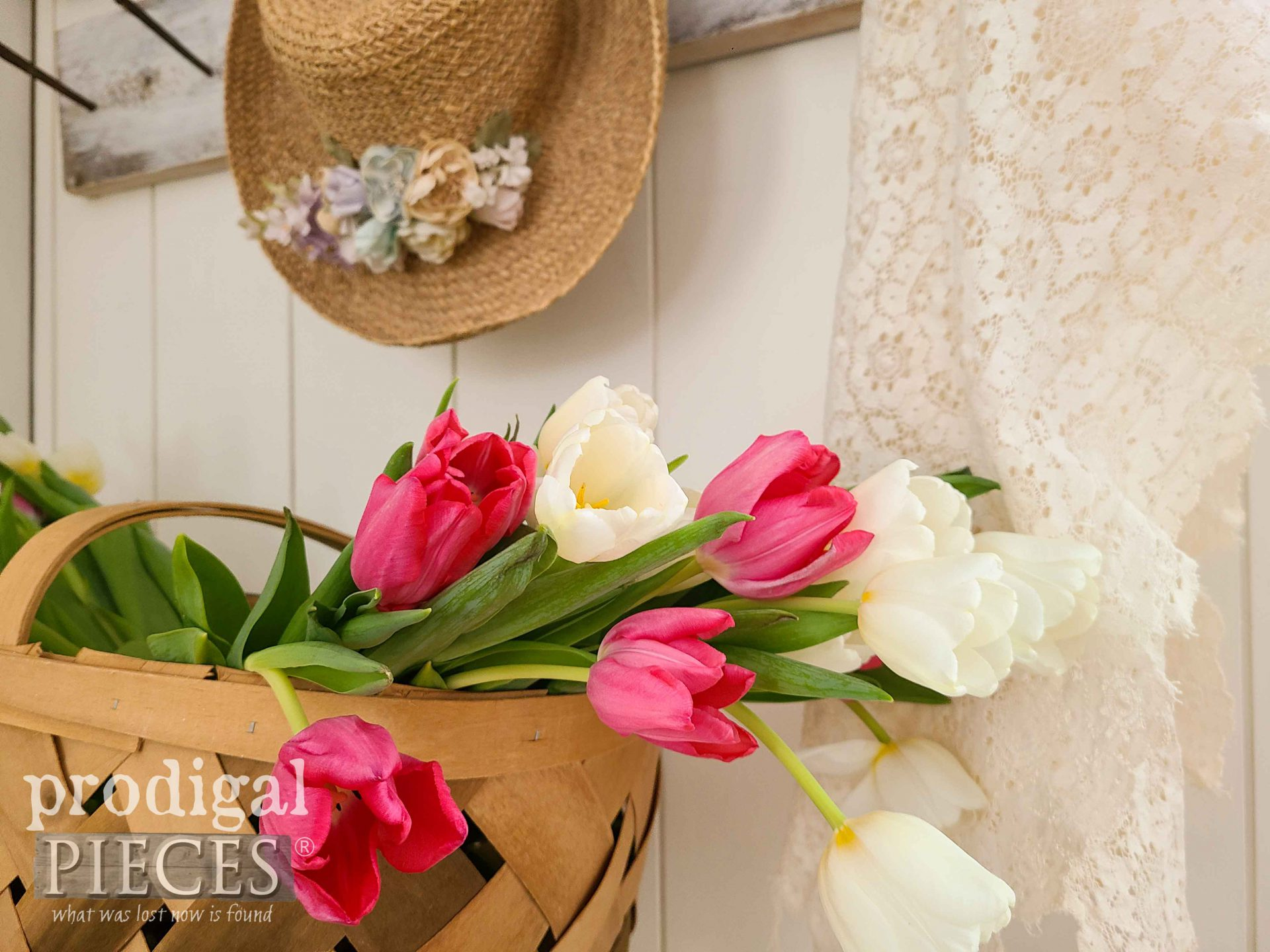 Basket of Fresh Tulips for Spring Decor by Larissa of Prodigal Pieces | prodigalpieces.com #prodigalpieces #spring #diy #home #homedecor