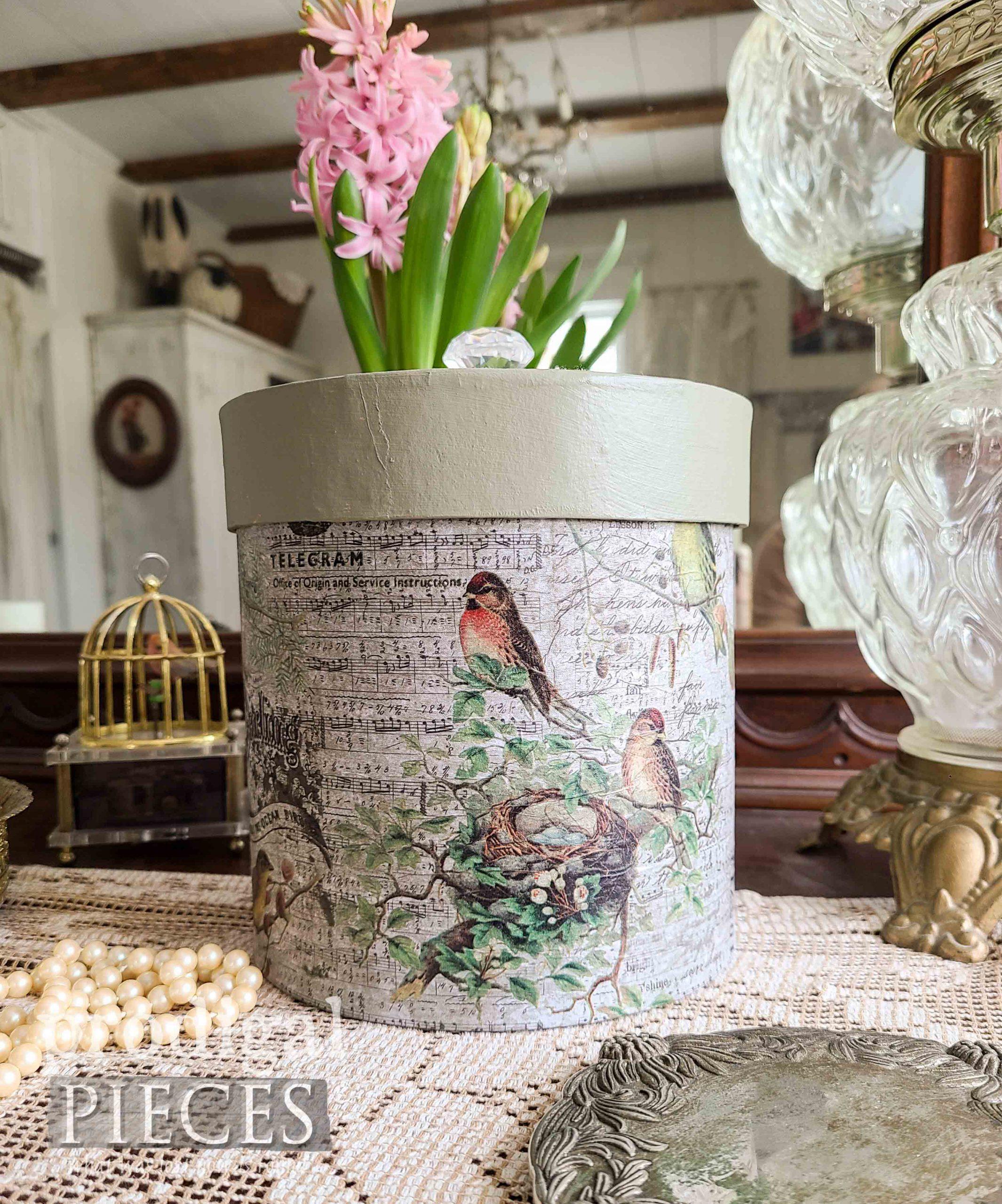 Bird Decoupage Box by Larissa of Prodigal Pieces | prodigalpieces.com #prodigalpieces #birds #vintage #diy #home
