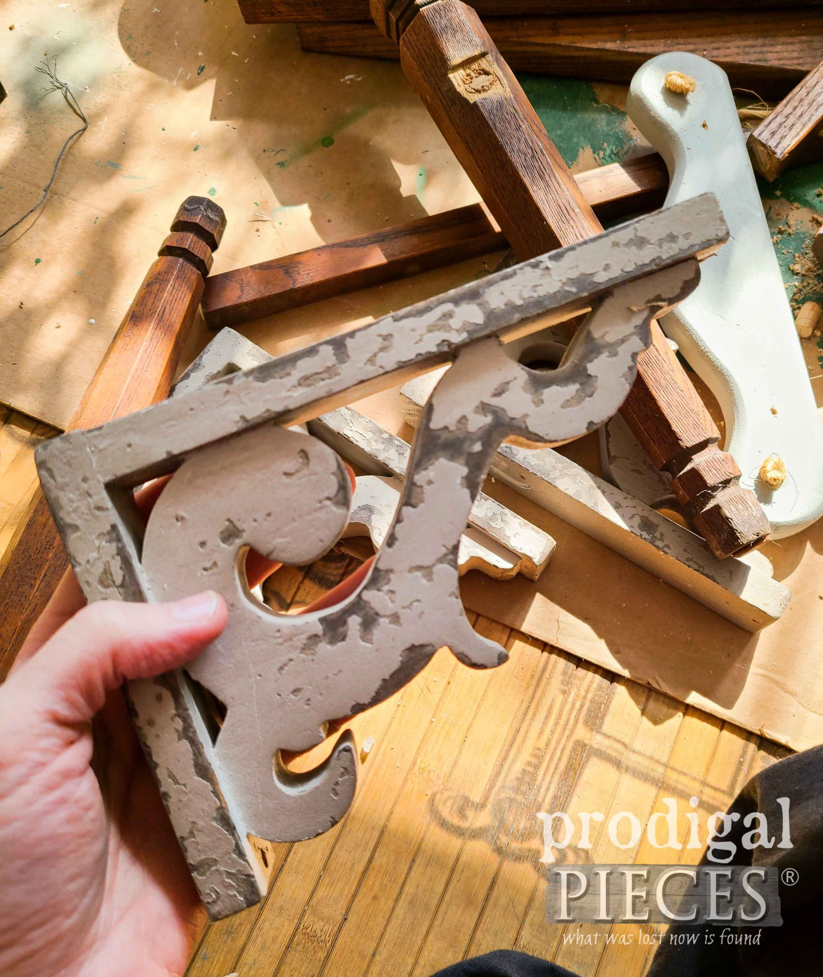 Chippy Painted Corbel for Salvaged Art Signs by Prodigal Pieces | prodigalpieces.com